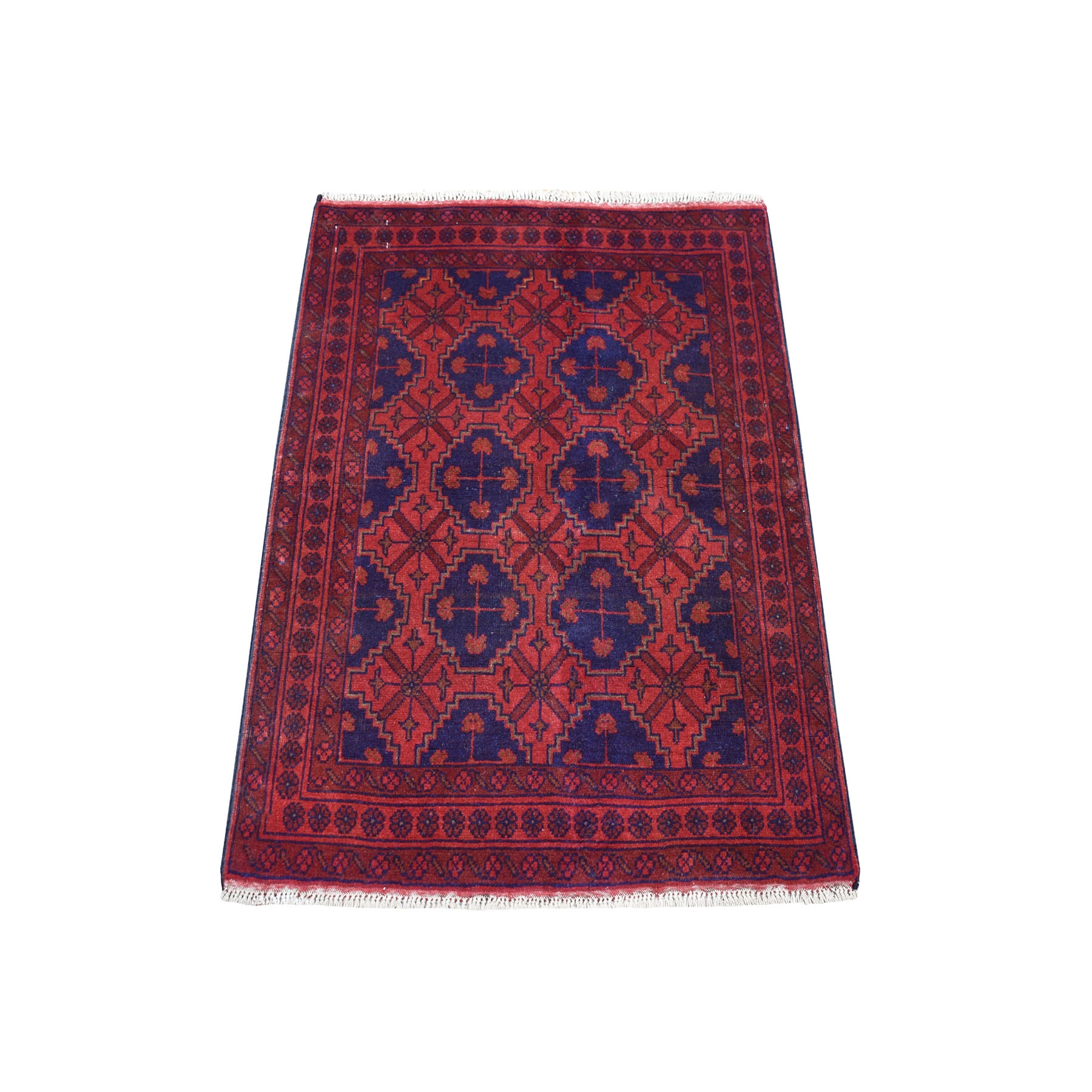 "2'8""x3'9"" Deep and Saturated Red Geometric Afghan Andkhoy Pure Wool Hand Knotted Oriental Rug"