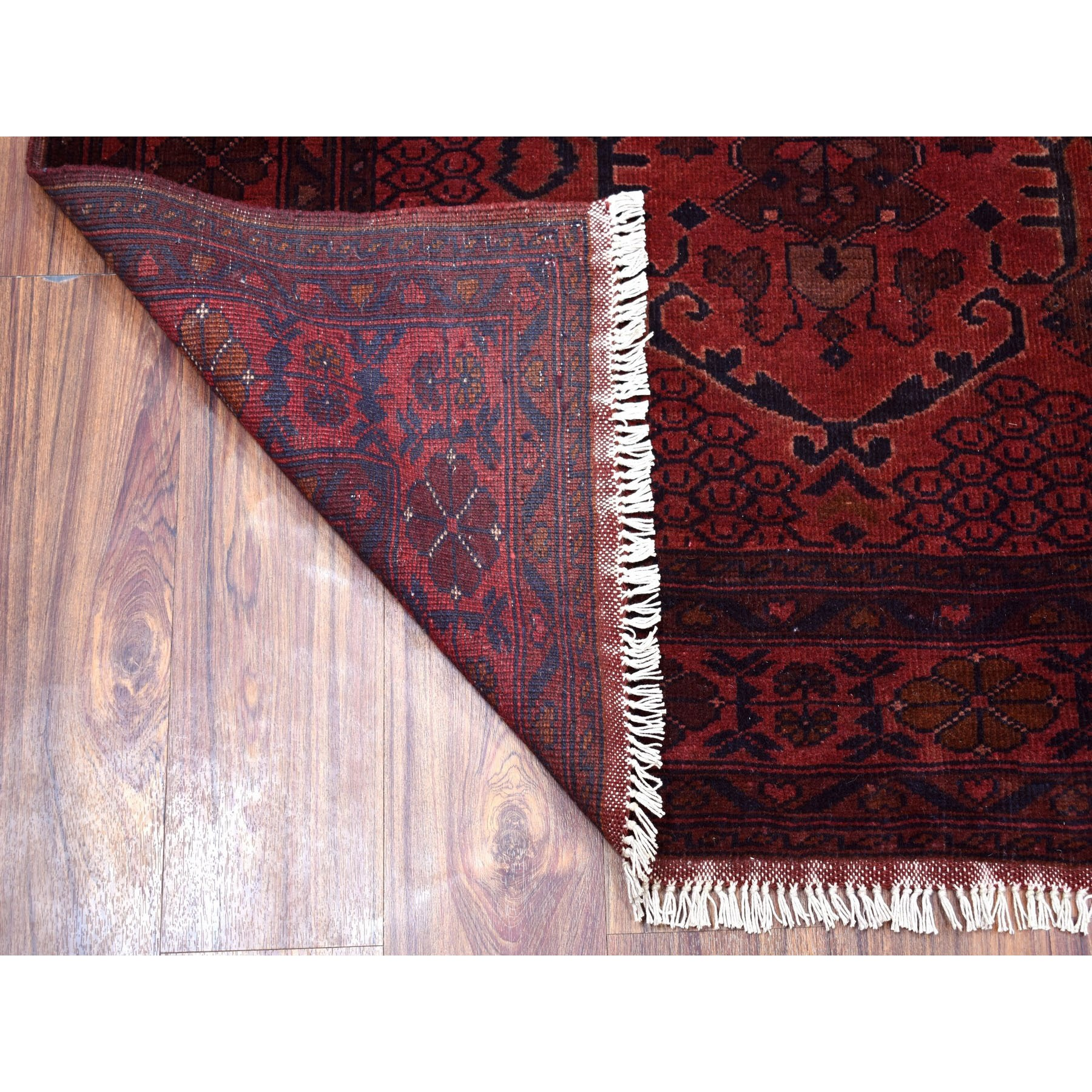 "4'1""x6' Deep and Saturated Red Tribal Afghan Andkhoy Pure Wool Hand Knotted Oriental Rug"