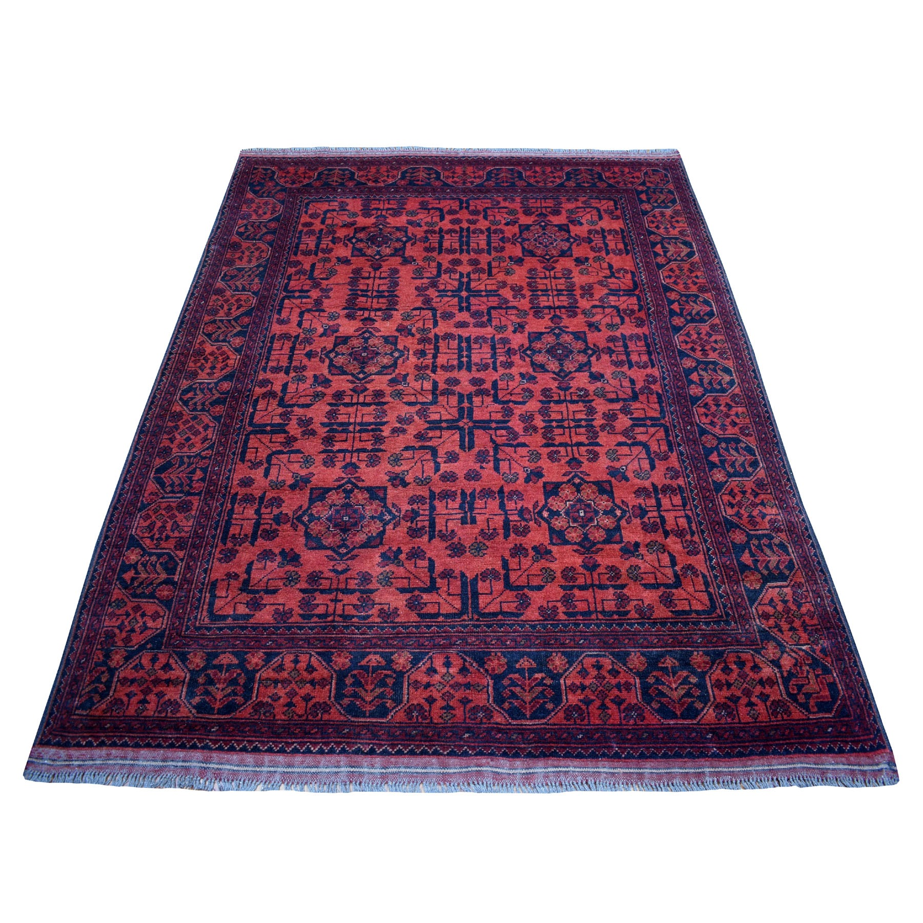 """4'10""""X6'6"""" Deep And Saturated Red Geometric Afghan Andkhoy Pure Wool Hand Knotted Oriental Rug moaeda98"""