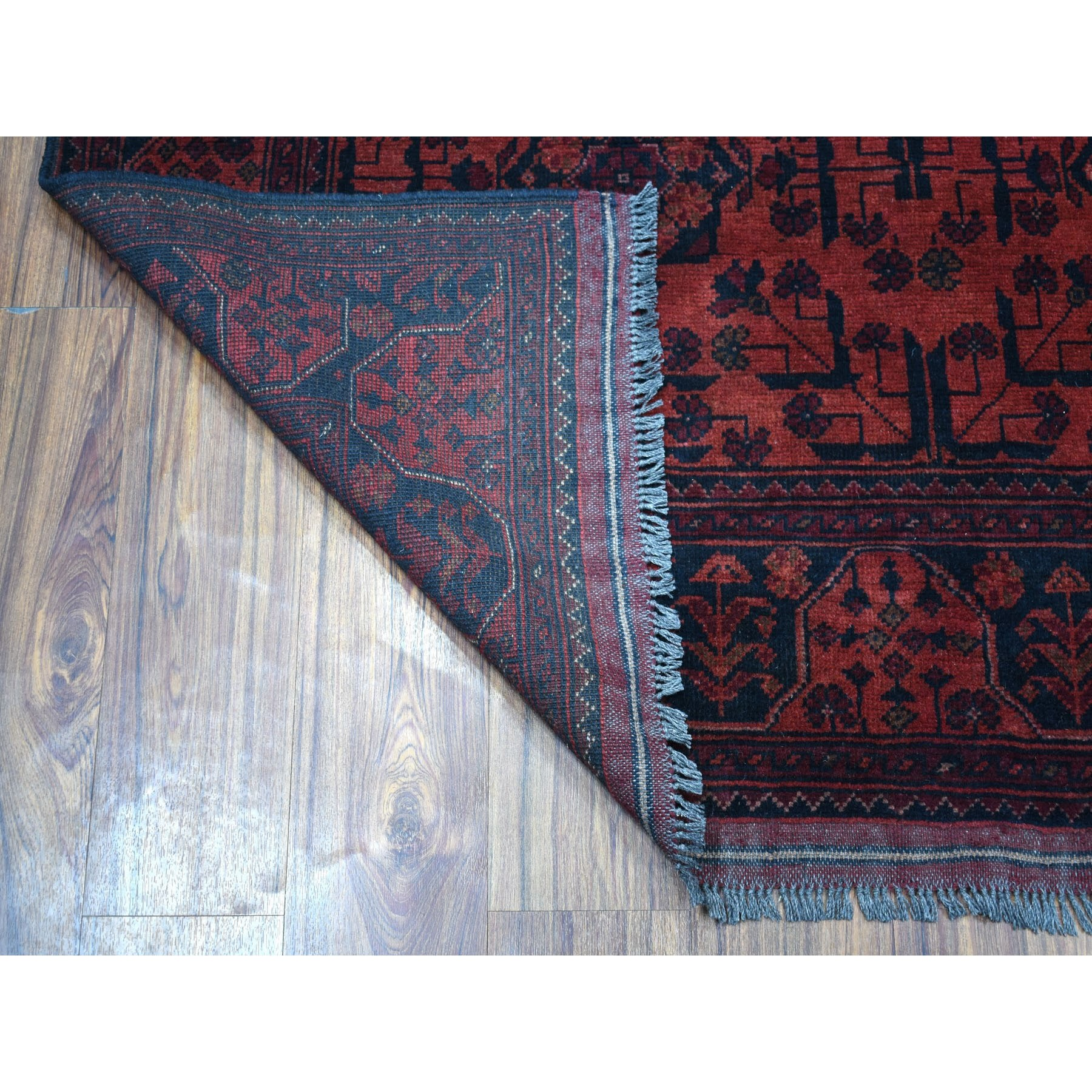 """4'10""""x6'6"""" Deep and Saturated Red Geometric Afghan Andkhoy Pure Wool Hand Knotted Oriental Rug"""
