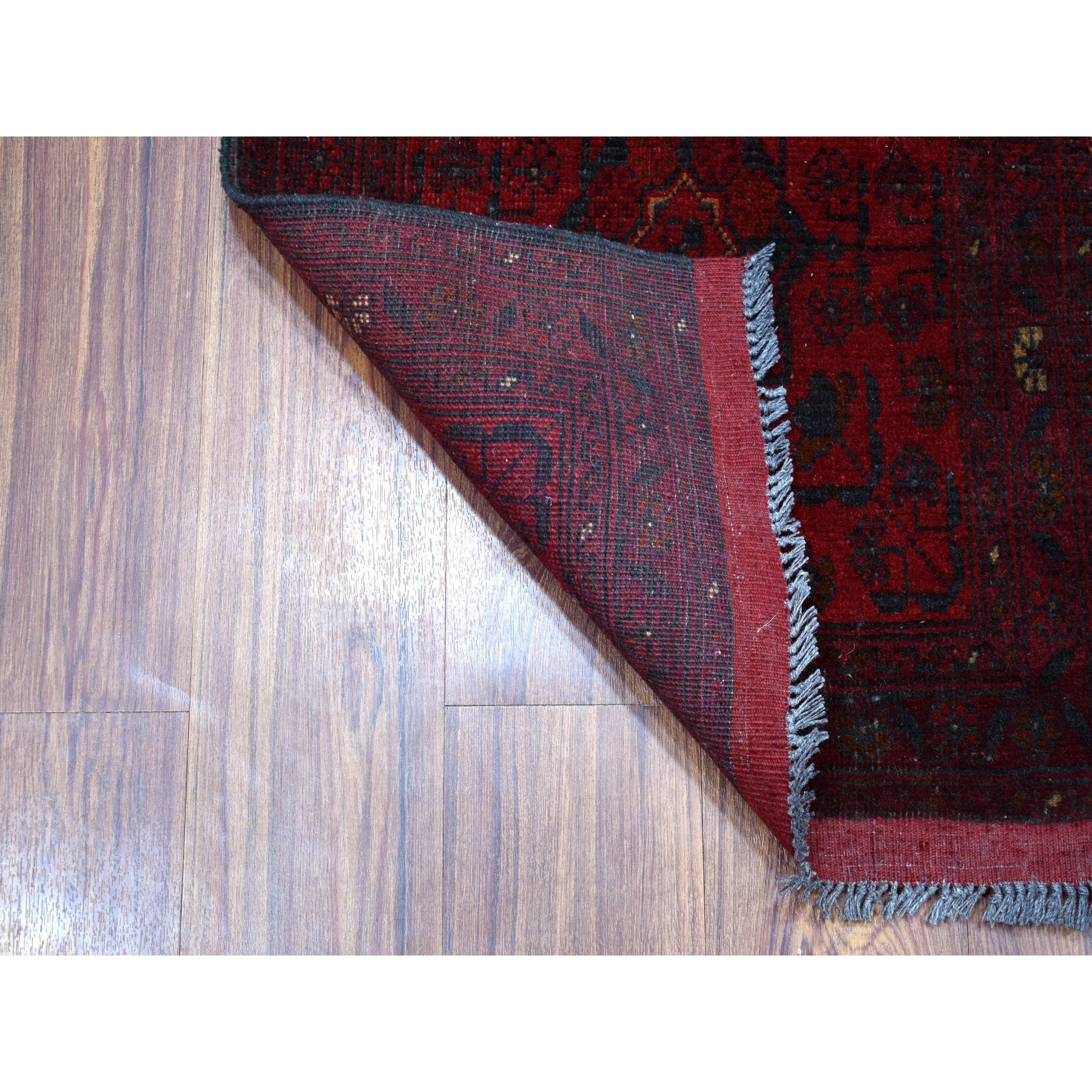 """1'10""""x3'4"""" Deep and Saturated Red Geometric Afghan Andkhoy Pure Wool Hand Knotted Oriental Rug"""