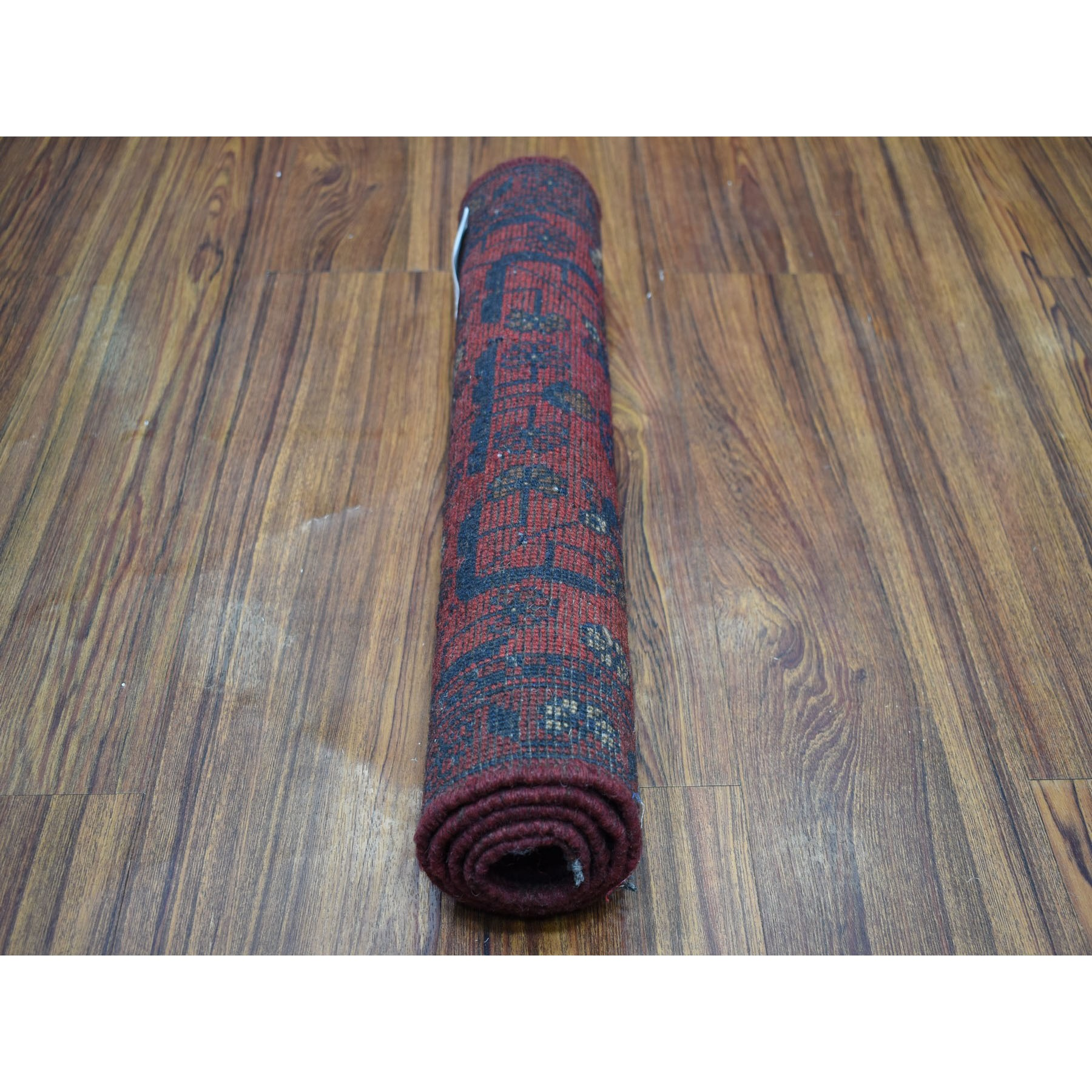"""1'8""""x3'3"""" Deep and Saturated Red Tribal Afghan Andkhoy Pure Wool Hand Knotted Oriental Rug"""