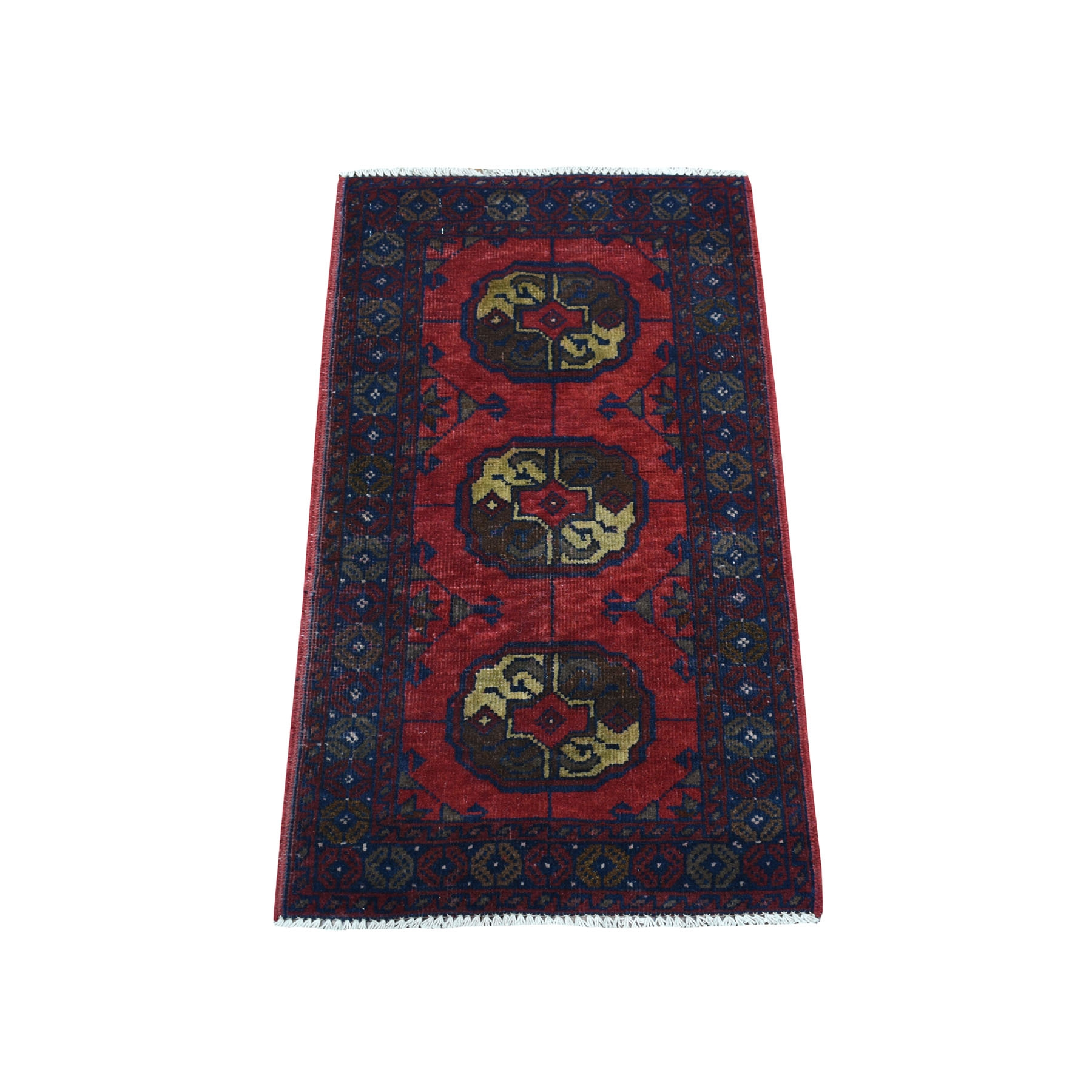 """1'8""""X3'2"""" Deep And Saturated Red Elephant Feet Afghan Andkhoy Pure Wool Hand Knotted Oriental Rug moaedb0b"""