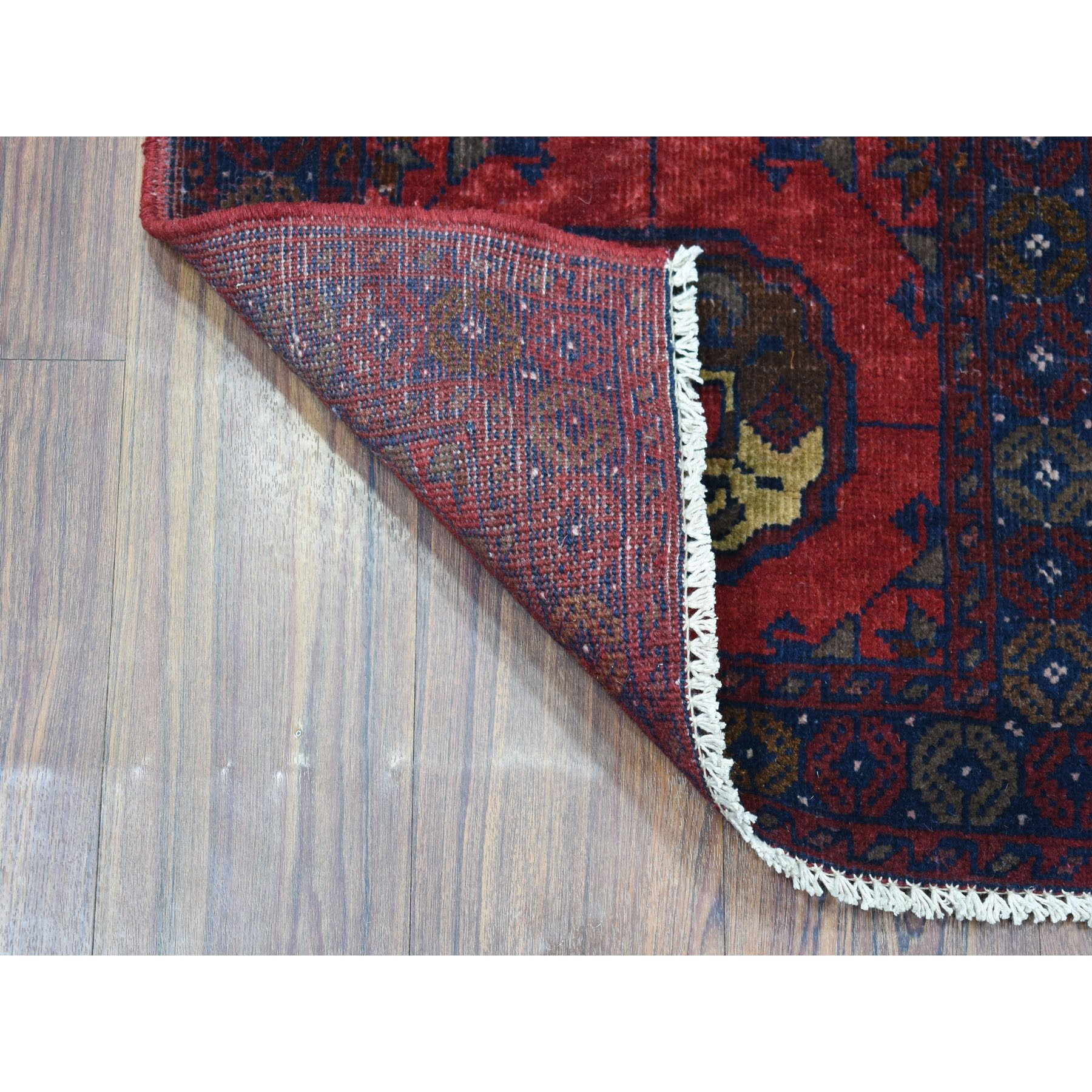 "1'8""x3'2"" Deep and Saturated Red Elephant Feet Afghan Andkhoy Pure Wool Hand Knotted Oriental Rug"