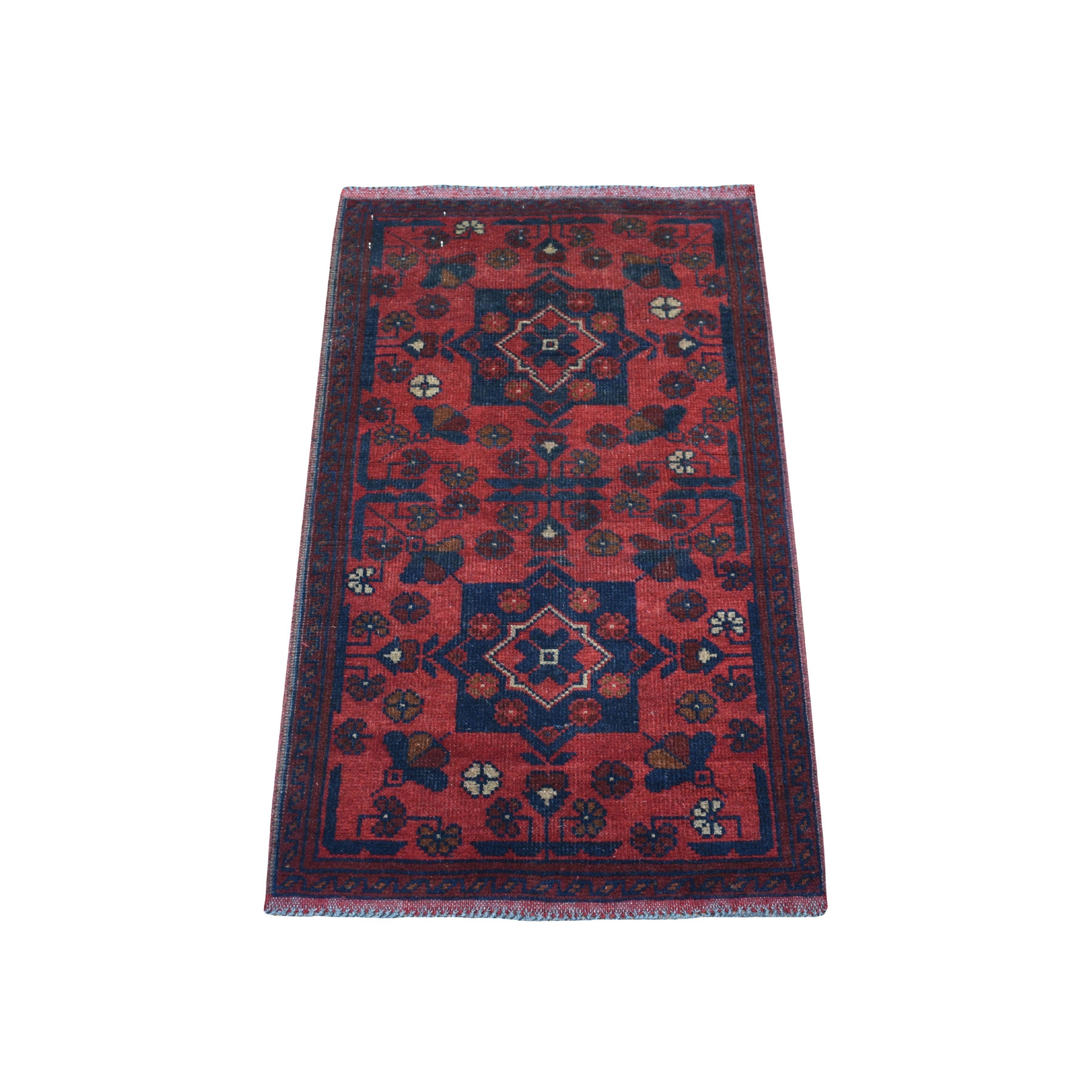 """1'9""""X3'2"""" Deep And Saturated Red Tribal Afghan Andkhoy Pure Wool Hand Knotted Oriental Rug moaedb0c"""