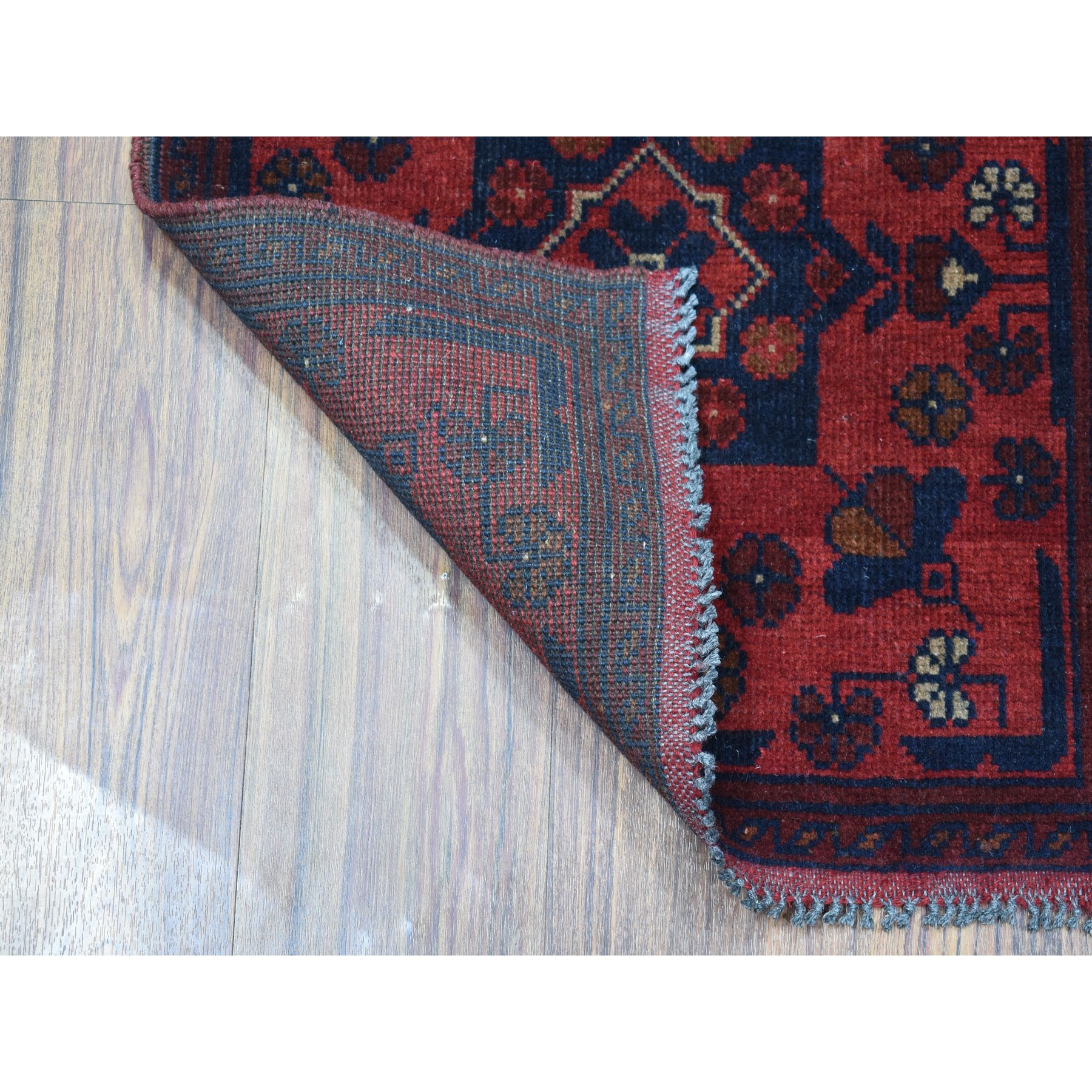 """1'9""""x3'2"""" Deep and Saturated Red Tribal Afghan Andkhoy Pure Wool Hand Knotted Oriental Rug"""