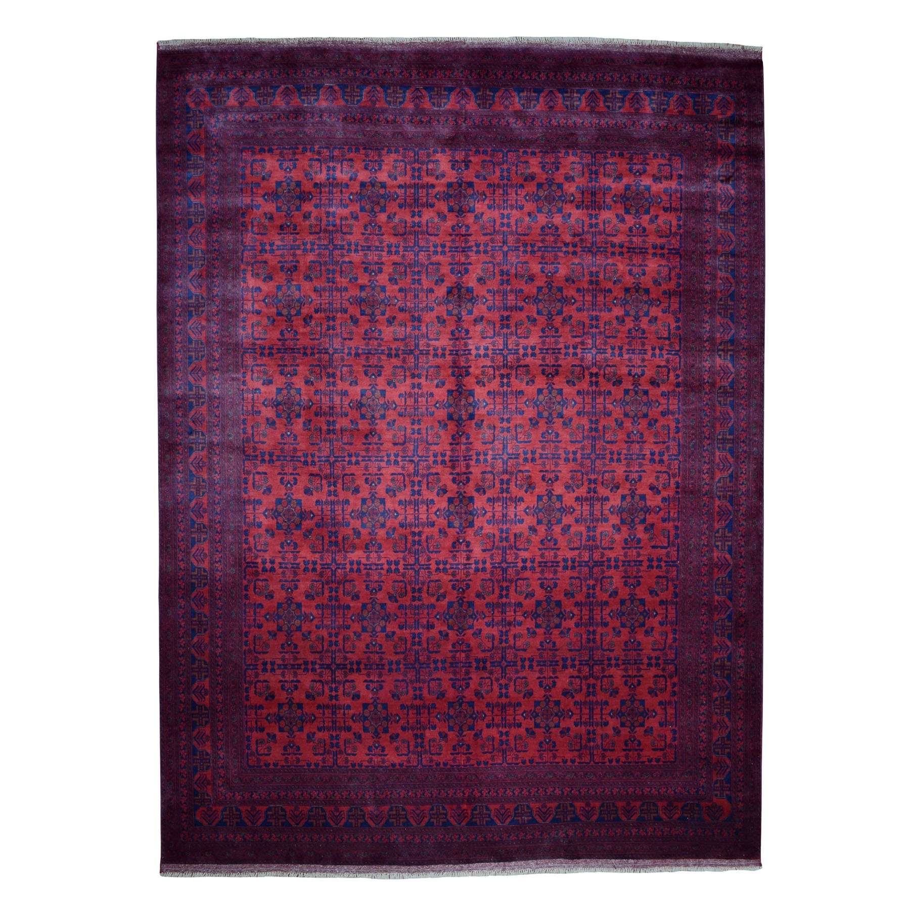 "10'x12'7"" Vintage Look Red Geometric Design Afghan Andkhoy Pure Wool Hand-Knotted Oriental Rug"