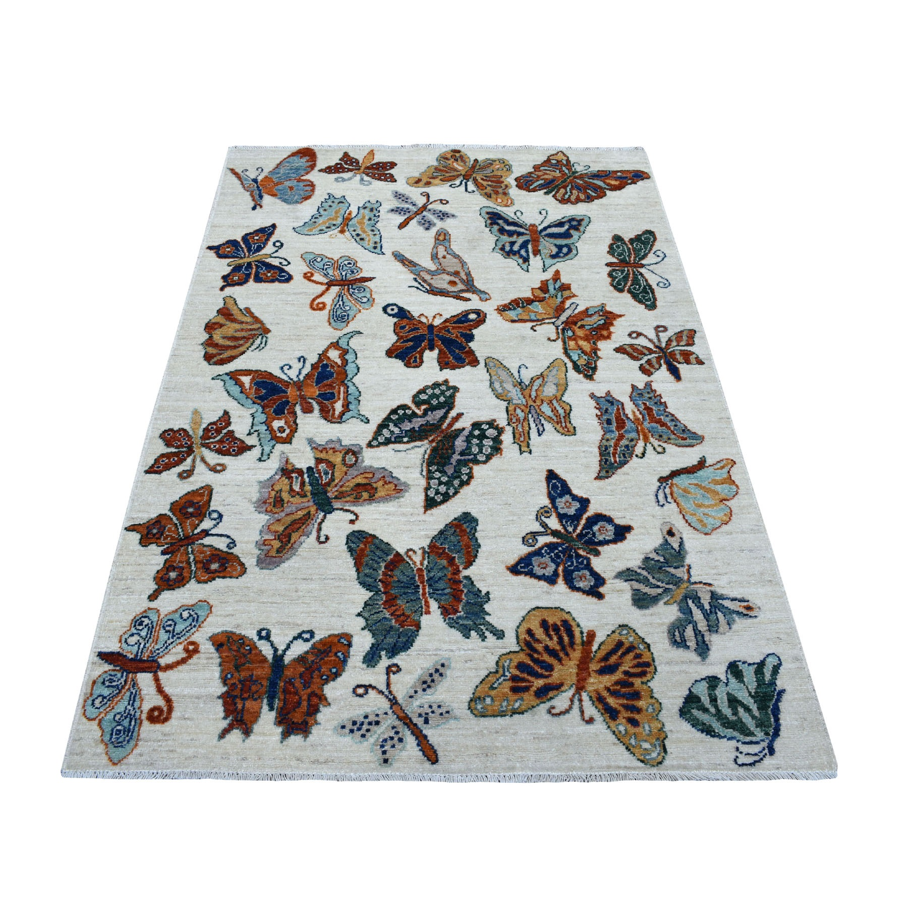 4'X6' The Colorful Butterflies Peshawar Pure Wool Hand Knotted Oriental Rug moaedb0e