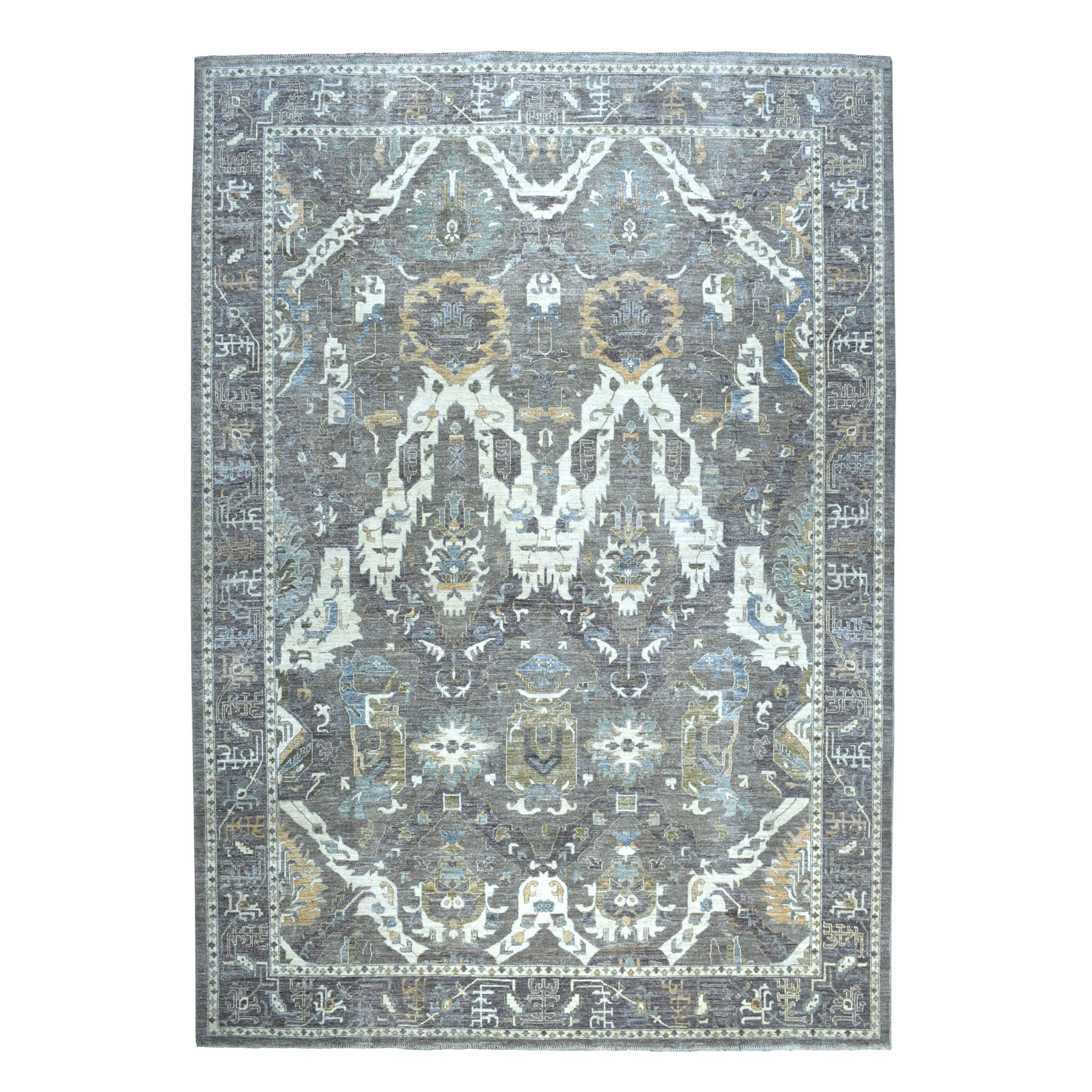 "10'x13'7"" Gray Peshawar Serrated Leaves Mahal Design Hand Knotted Oriental Rug"