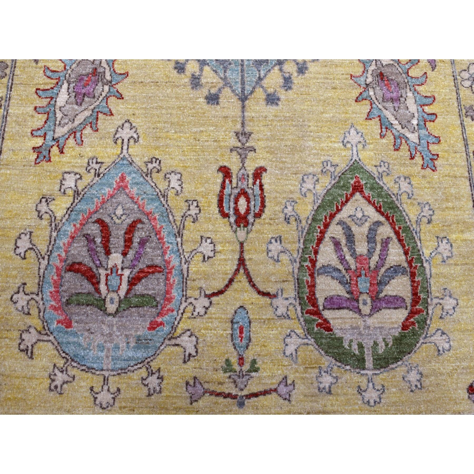 "10'2""x13'10"" Yellow Peshawar With Suzani Uzbek Design Hand Knotted Oriental Rug"