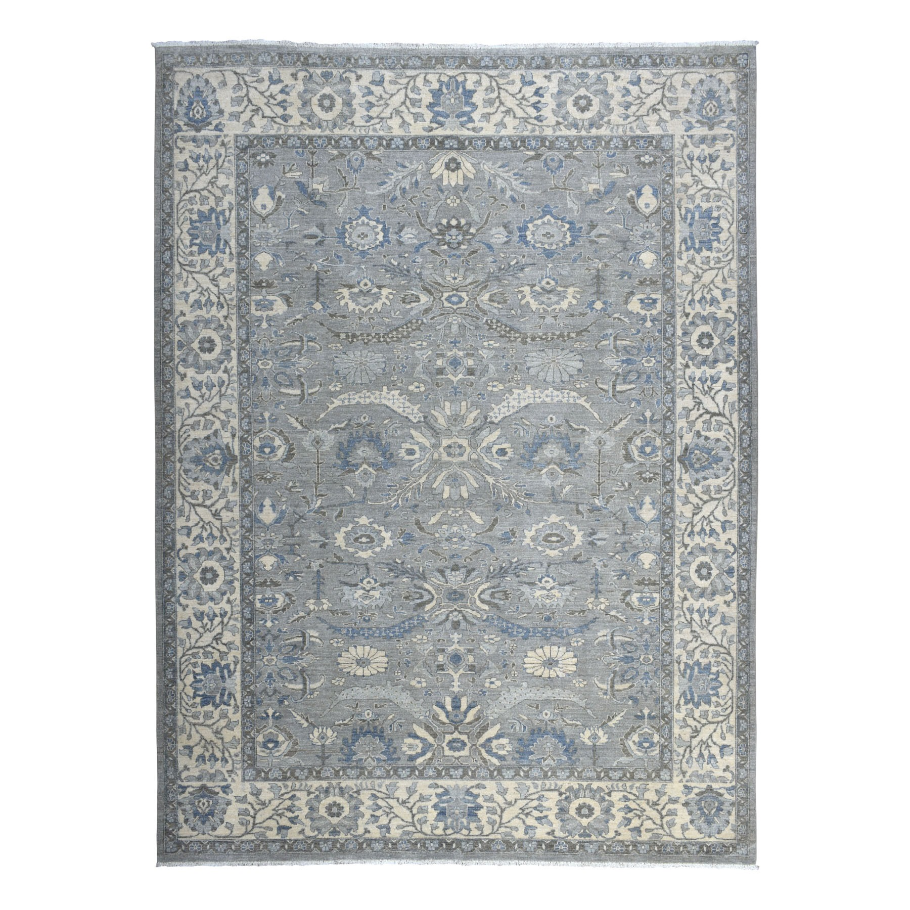 "9'1""X12' Gray Peshawar With Ziegler Mahal Design Silver Wash Hand Knotted Oriental Rug moaedb08"