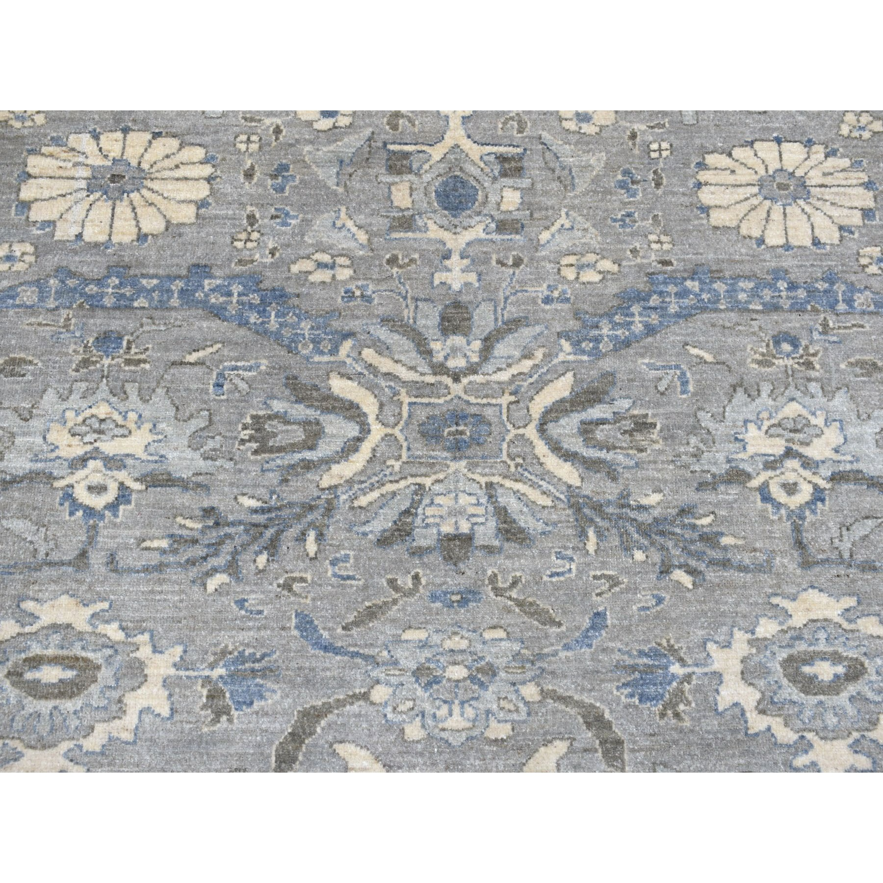 """9'1""""x12' Gray Peshawar With Ziegler Mahal Design Silver Wash Hand Knotted Oriental Rug"""