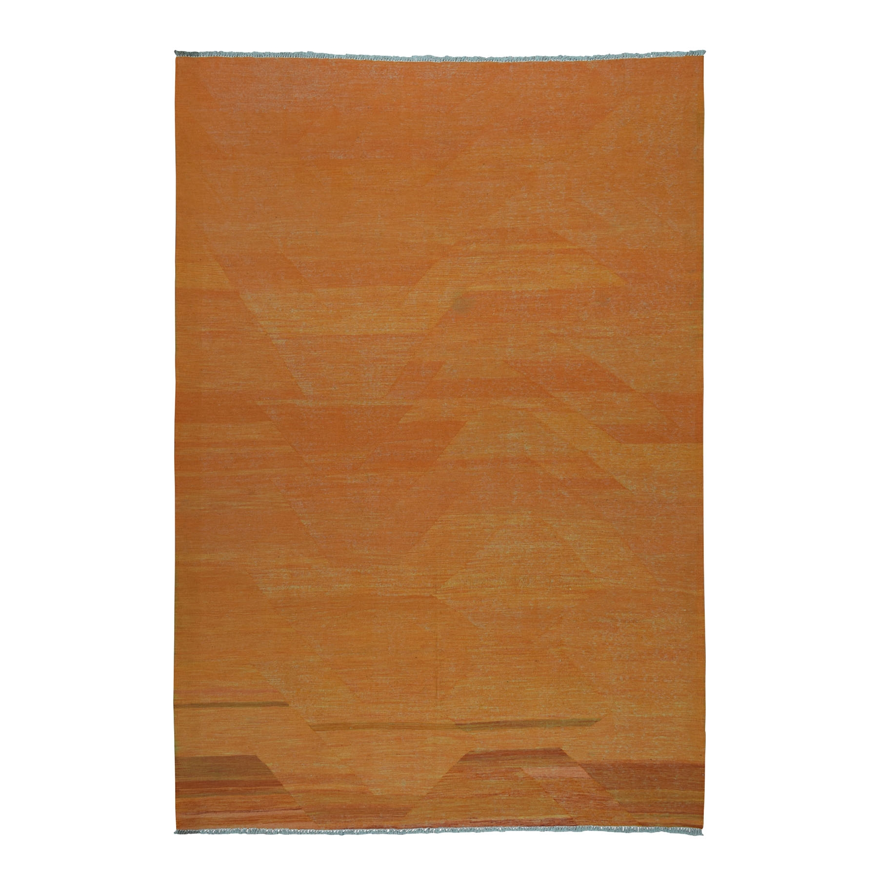 "6'9""X9'10"" Orange Shades Flat Weave Kilim Pure Wool Hand Woven Oriental Rug moaedbab"