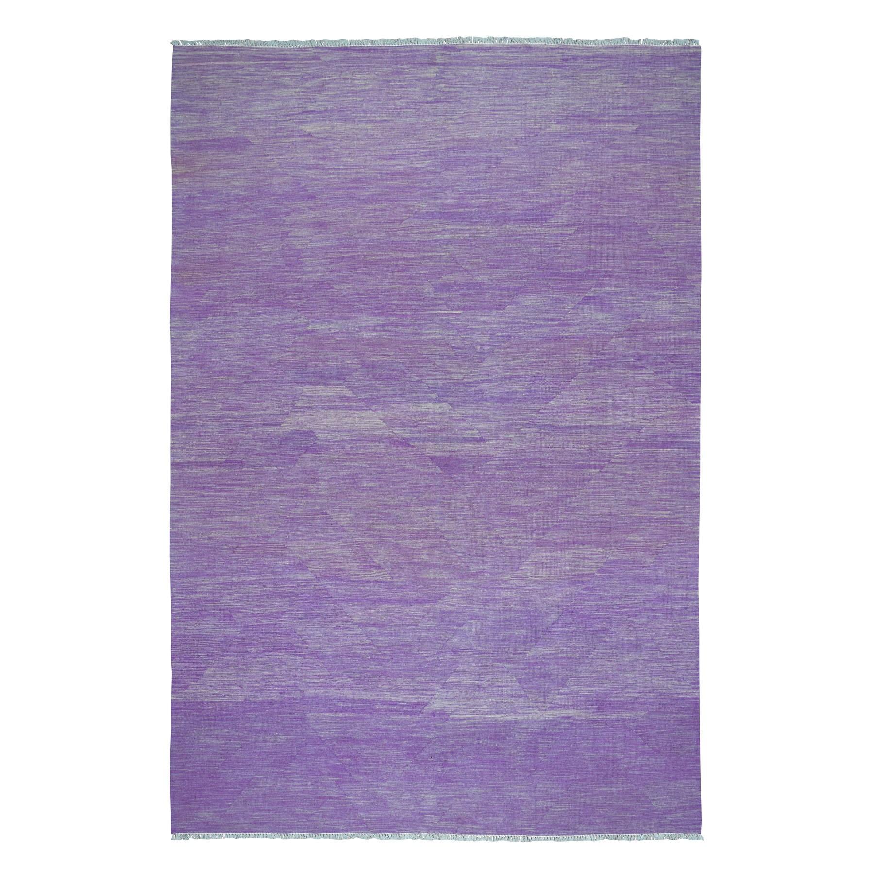 "6'8""X9'8"" Lavender Shades Flat Weave Kilim Pure Wool Hand Woven Oriental Rug moaedbac"