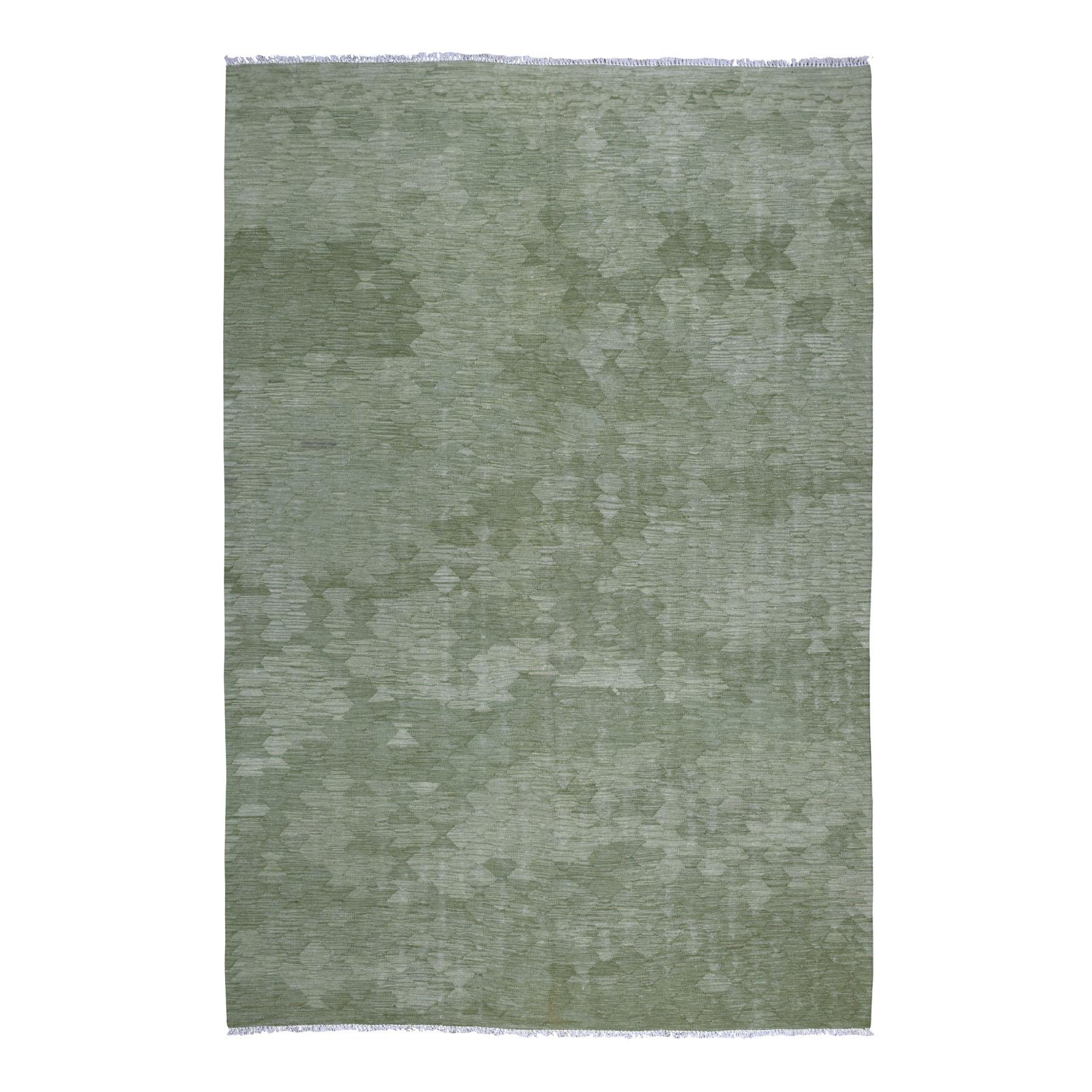 "6'9""X9'10"" Gray Green Shades Flat Weave Kilim Pure Wool Hand Woven Oriental Rug moaedbad"