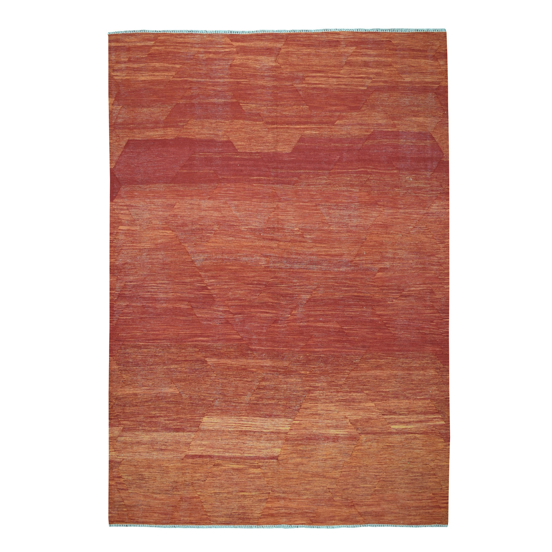 "6'8""X9'10"" Sunset Shades Reversible Kilim Pure Wool Hand Woven Oriental Rug moaedbae"