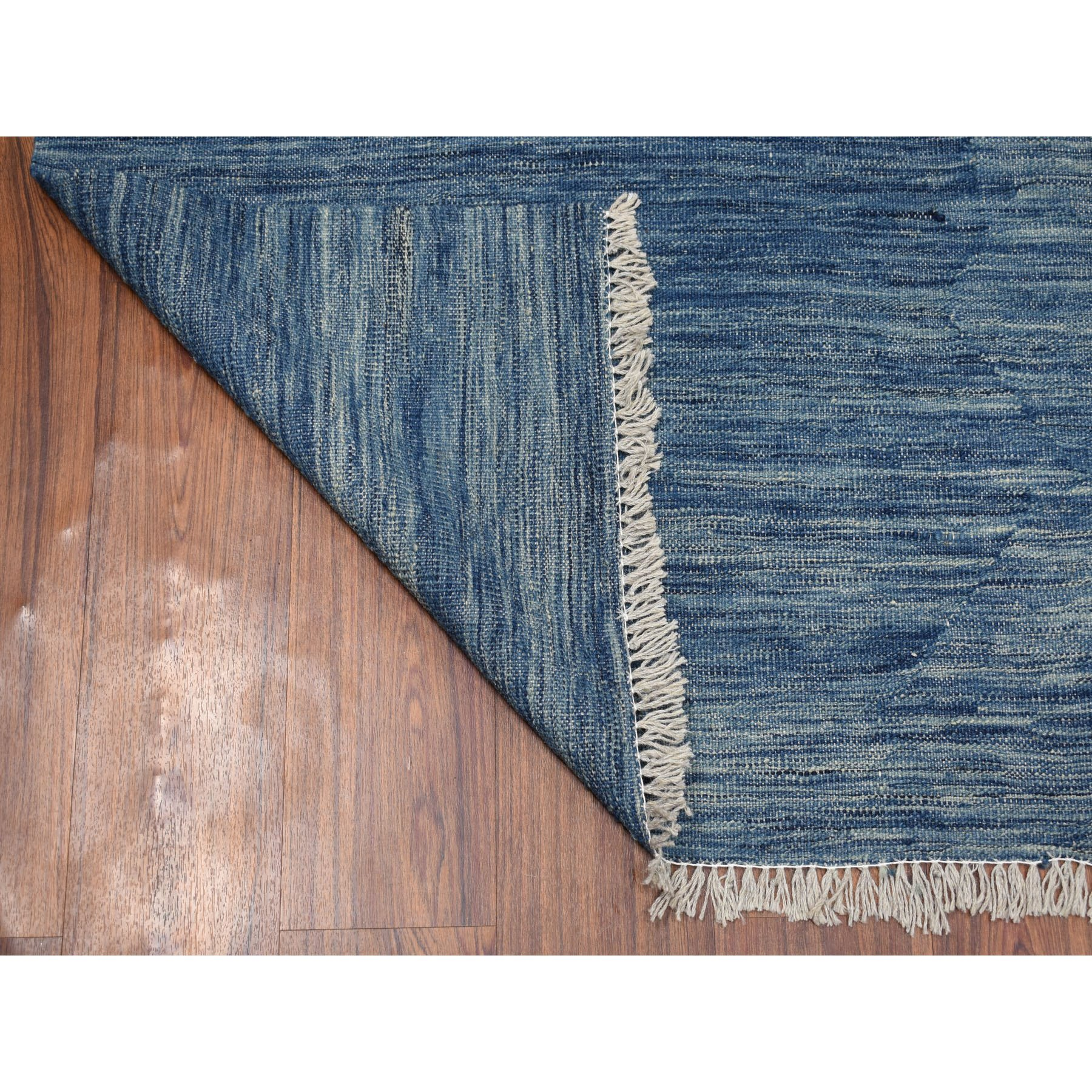 5-1 x6-7  Blue Shades Reversible Kilim Pure Wool Hand Woven Oriental Rug