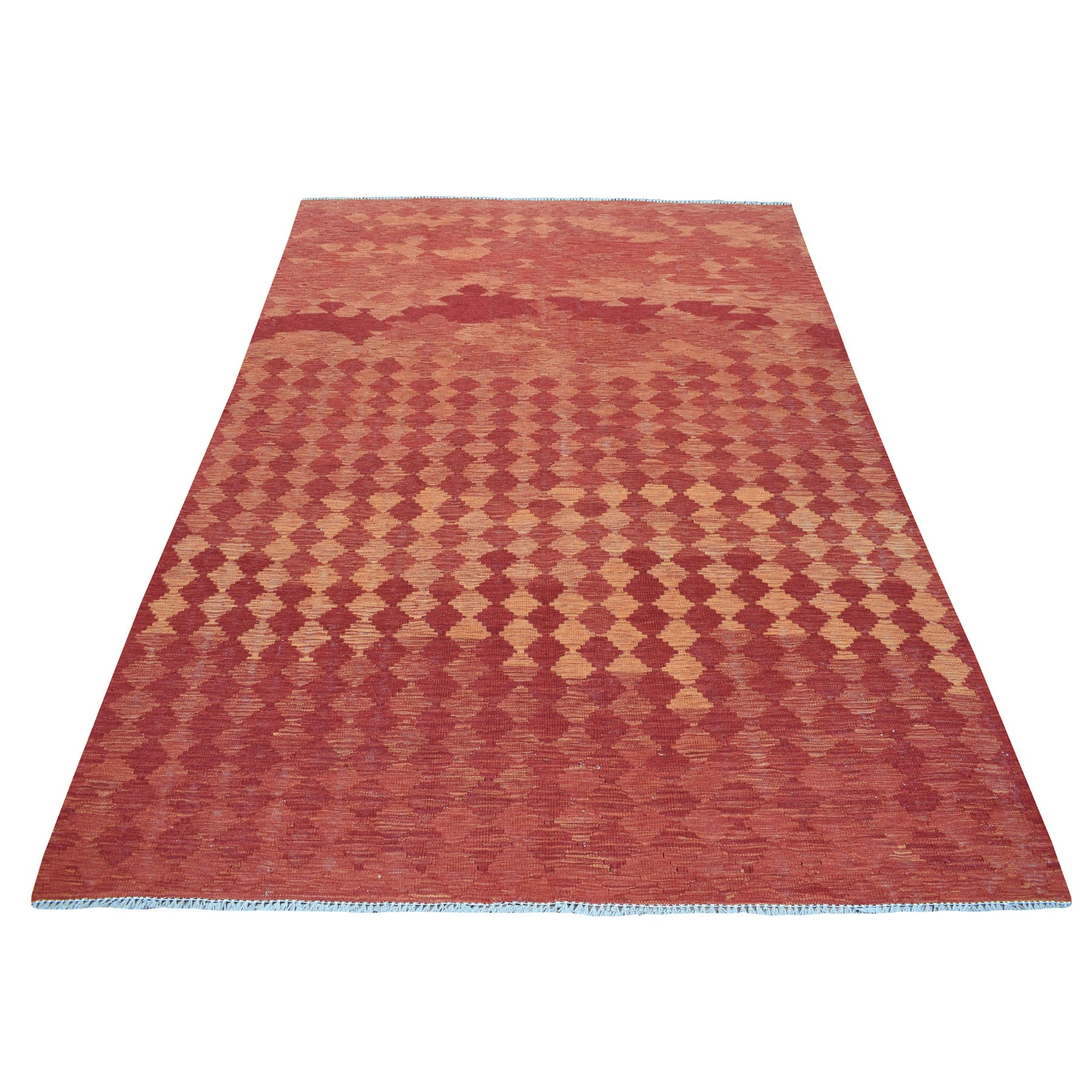 "5'5""x8'2"" Sunset Shades Reversible Kilim Pure Wool Hand Woven Oriental Rug 54221"