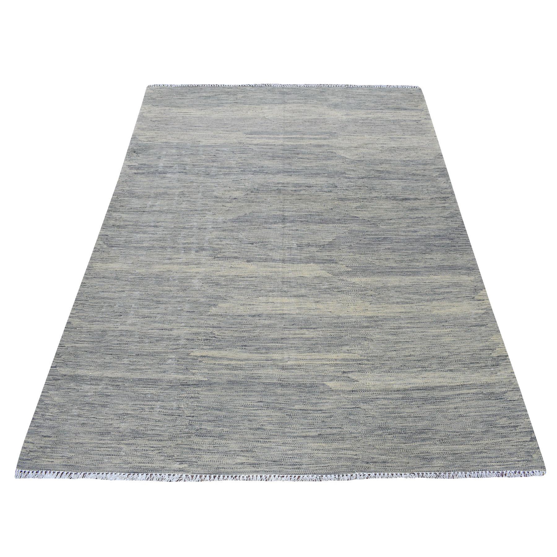 "4'7""X6'5"" Natural Shades Reversible Kilim Pure Wool Hand Woven Oriental Rug moaedbb6"