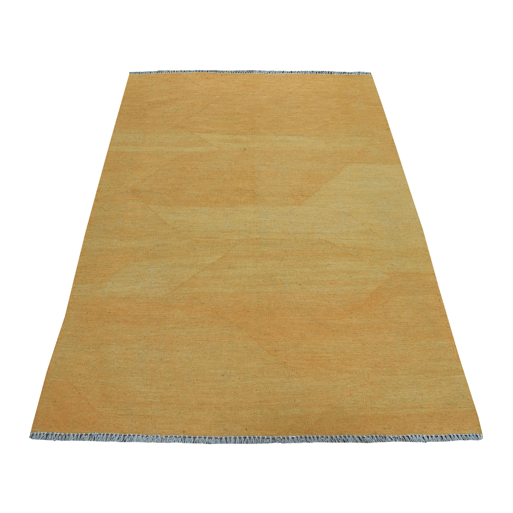 """4'2""""x6'  Gold Shades Reversible Kilim Pure Wool Hand Woven Oriental Rug"""