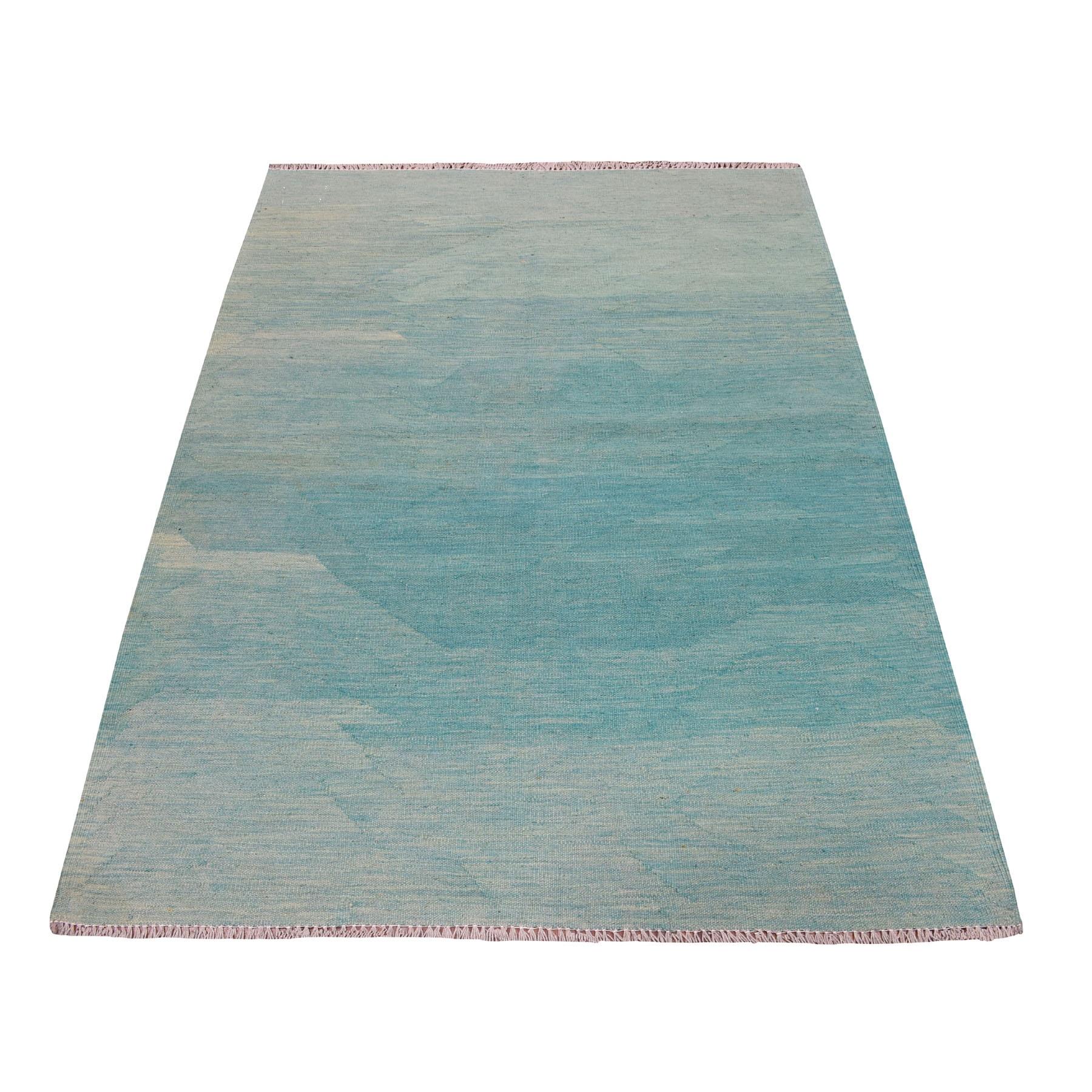 "4'X5'8"" Aquamarine Shades Flat Weave Kilim Pure Wool Hand Woven Oriental Rug moaedbc0"
