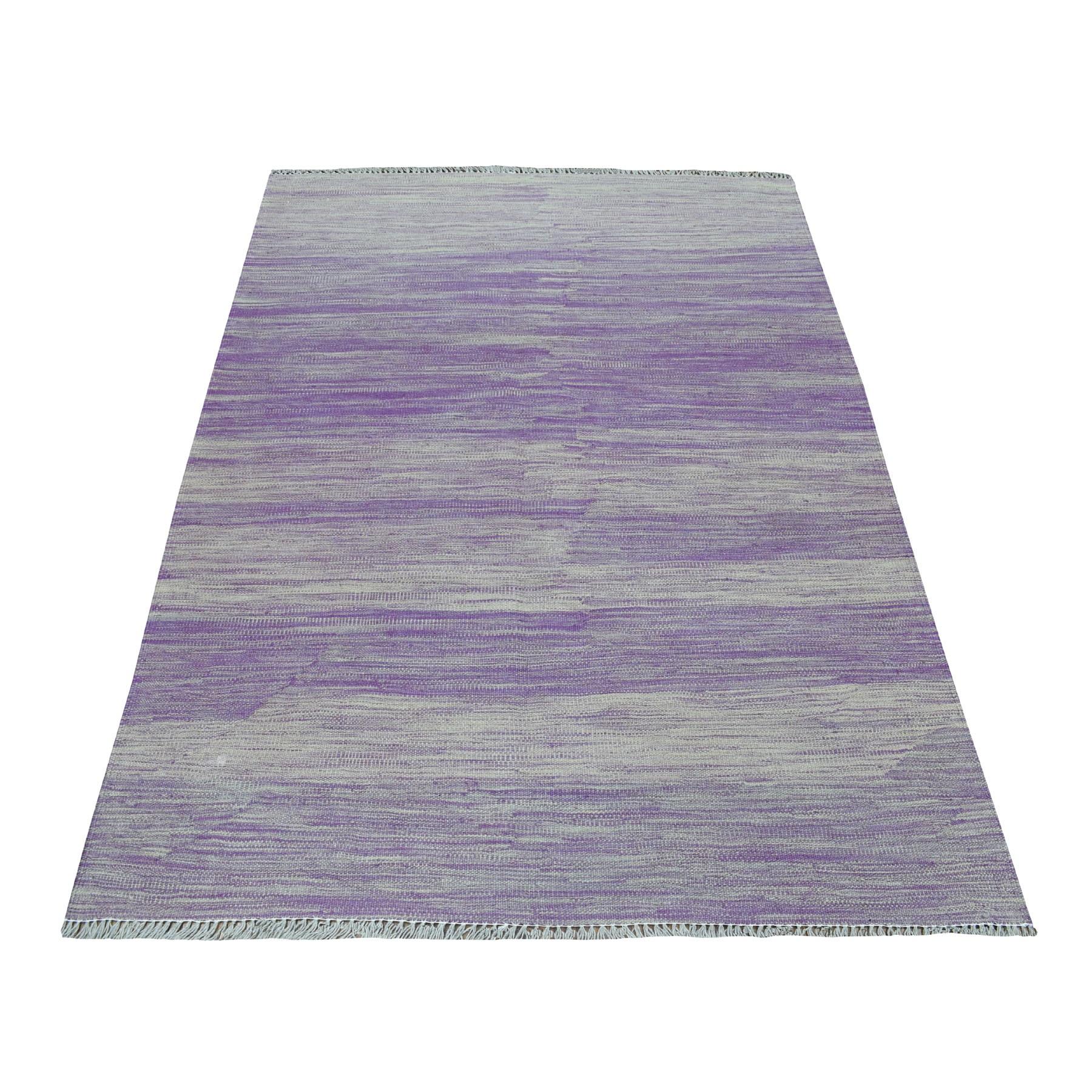"4'X5'10"" Lavender Shades Flat Weave Kilim Pure Wool Hand Woven Oriental Rug moaedbca"