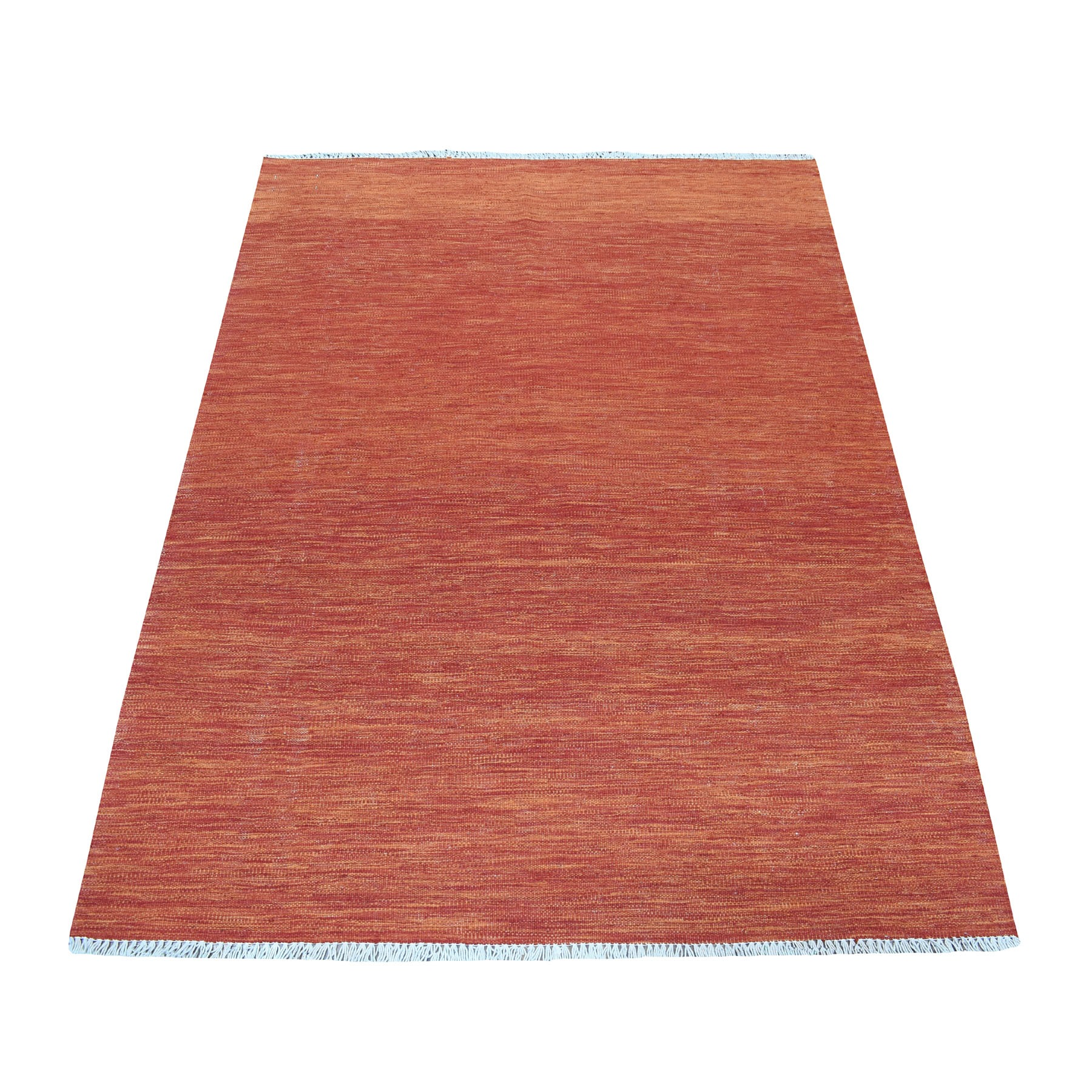 """4'X5'8"""" Sunset Shades Reversible Kilim Pure Wool Hand Woven Oriental Rug moaedbcb"""