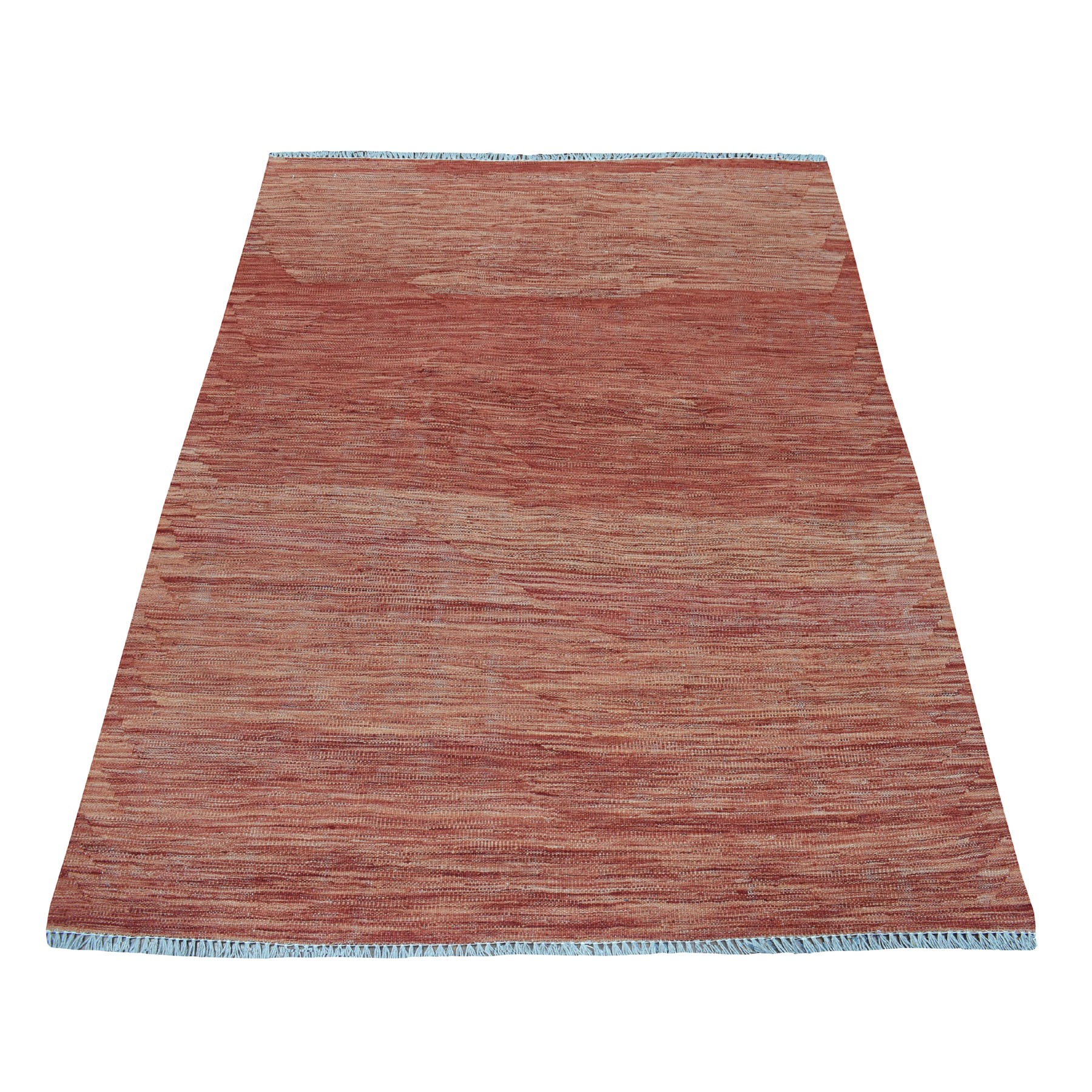 """4'1""""X5'8"""" Sunset Shades Reversible Kilim Pure Wool Hand Woven Oriental Rug moaedbcc"""