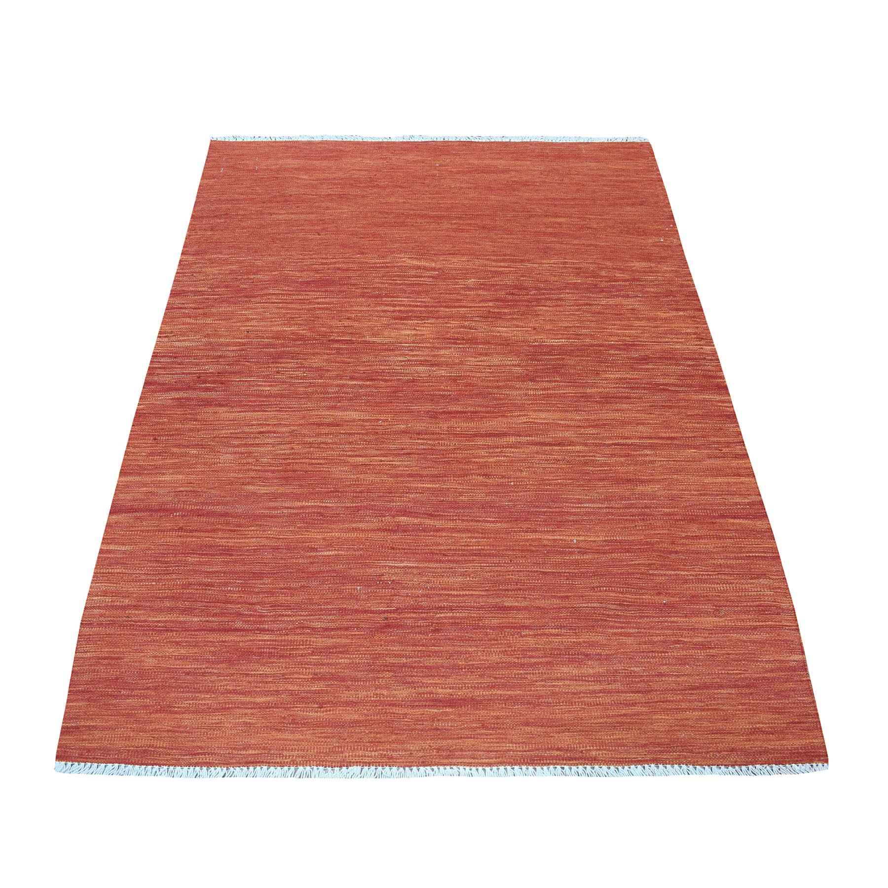 """4'X5'8"""" Sunset Shades Reversible Kilim Pure Wool Hand Woven Oriental Rug moaedbce"""