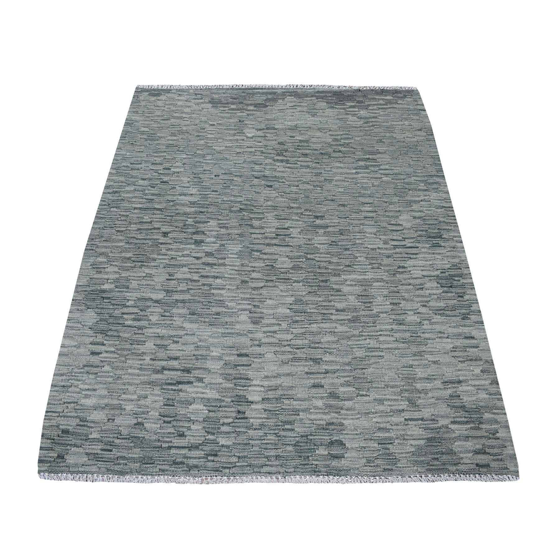 "4'X5'6"" Gray Shades Flat Weave Reversible Kilim Pure Wool Hand Woven Runner Oriental Rug moaedbc7"