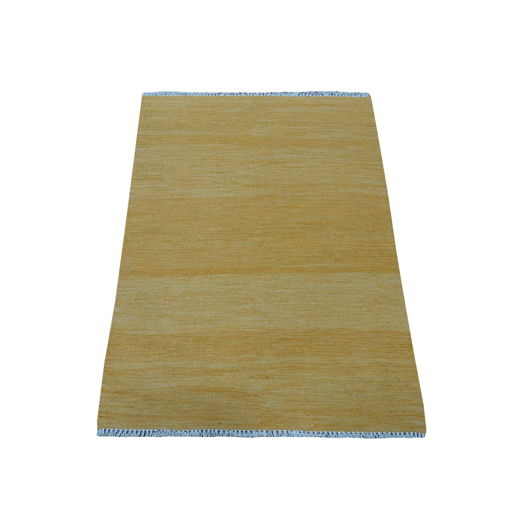"2'9""X3'8"" Gold Shades Reversible Kilim Pure Wool Hand Woven Oriental Rug moaedbdb"