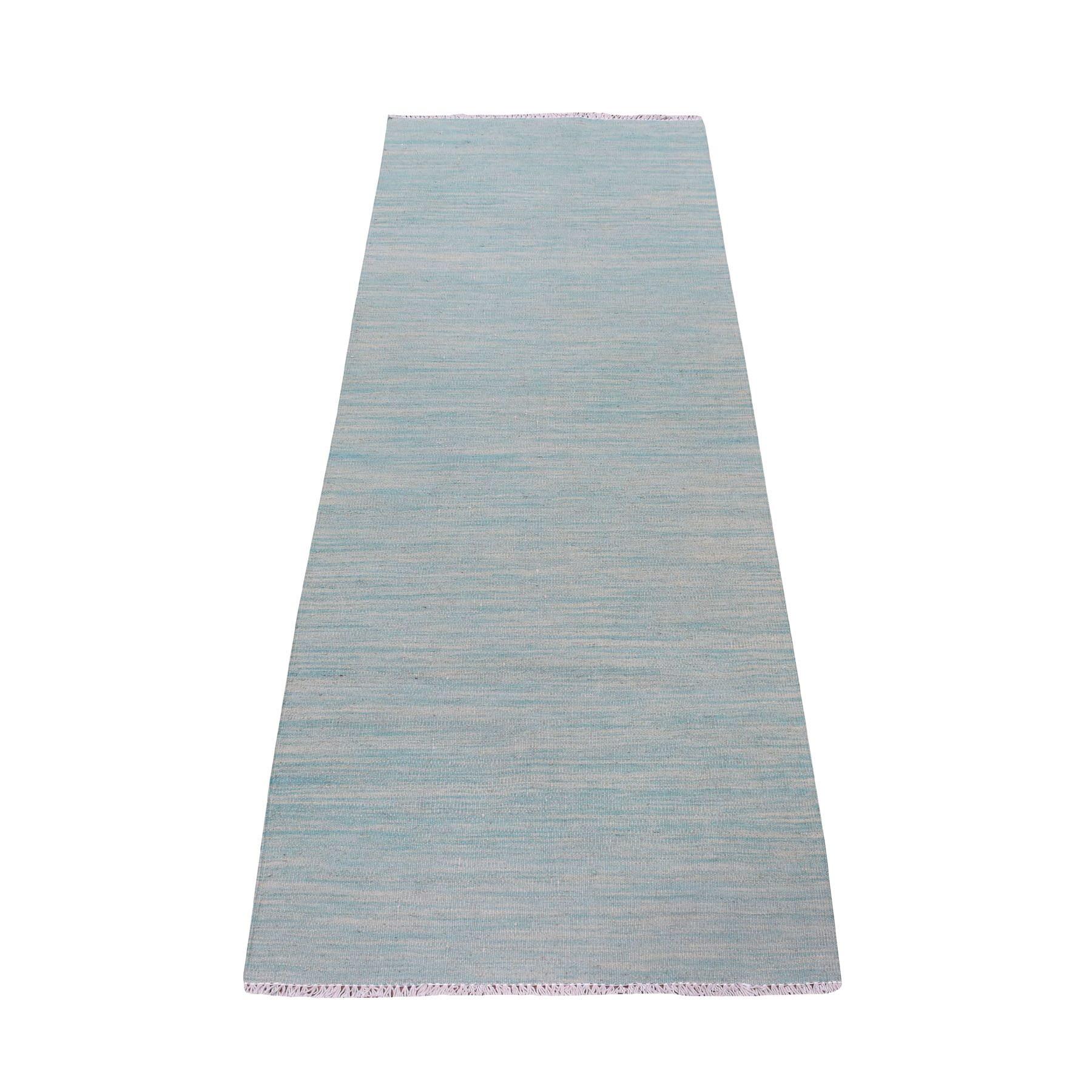 "2'4""x6'3"" Aqua Marine Shades Reversible  Kilim Pure Wool Hand Woven Oriental Runner Rug"