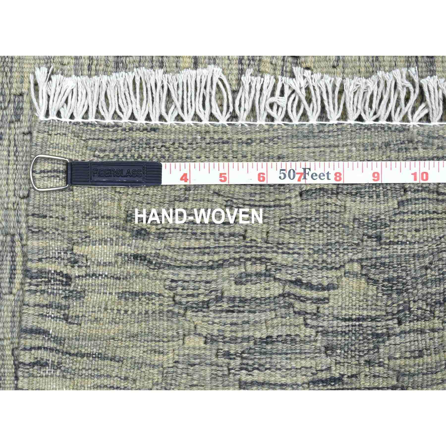 "2'2""x6'3""  Light Green Shades Reversible Kilim Pure Wool Hand Woven Runner Oriental Rug"