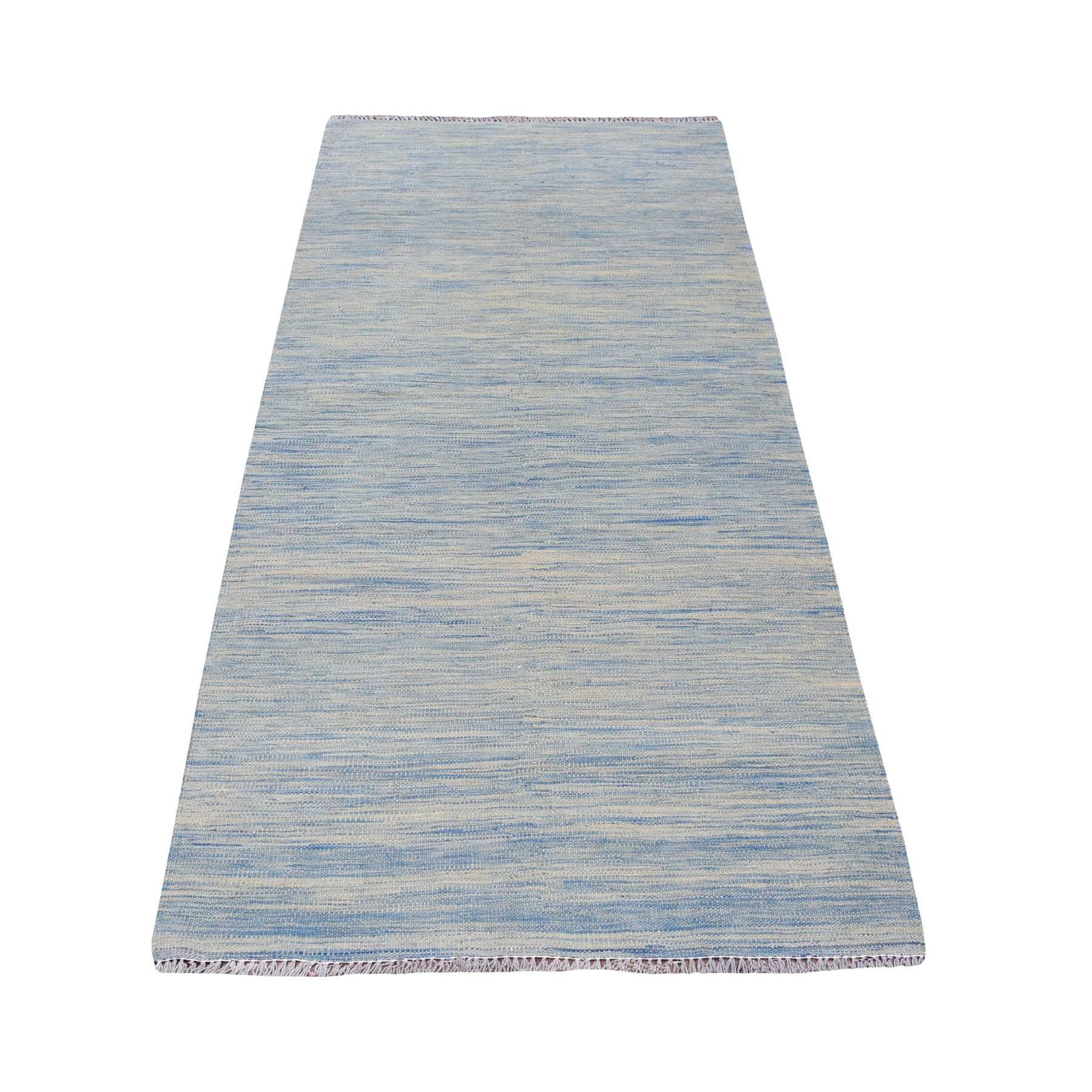 "3'2""X6'5"" Aquamarine Shades Reversible Kilim Pure Wool Hand Woven Runner Oriental Rug moaedbd6"