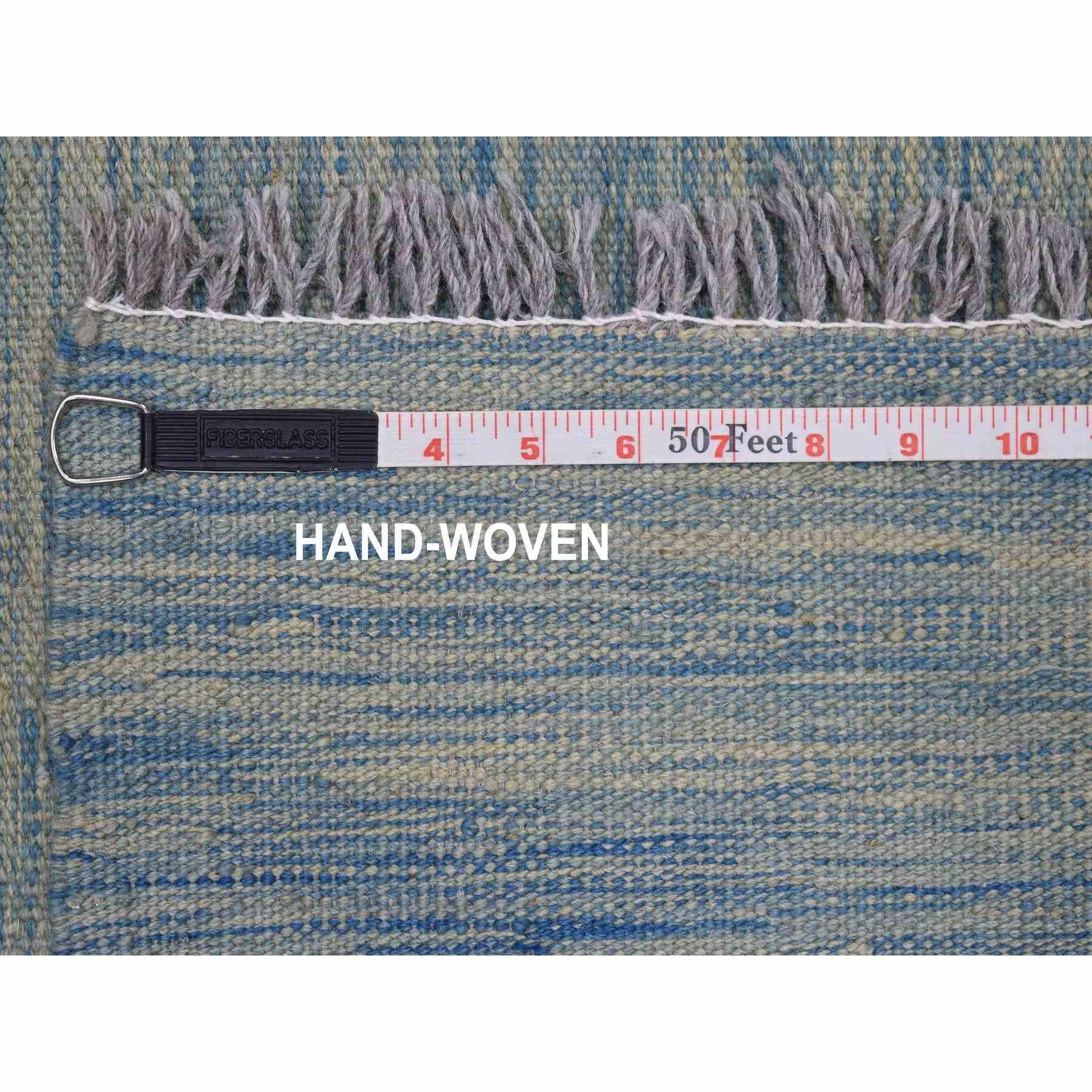 "3'2""x6'5"" Aquamarine Shades Reversible Kilim Pure Wool Hand Woven Runner Oriental Rug"