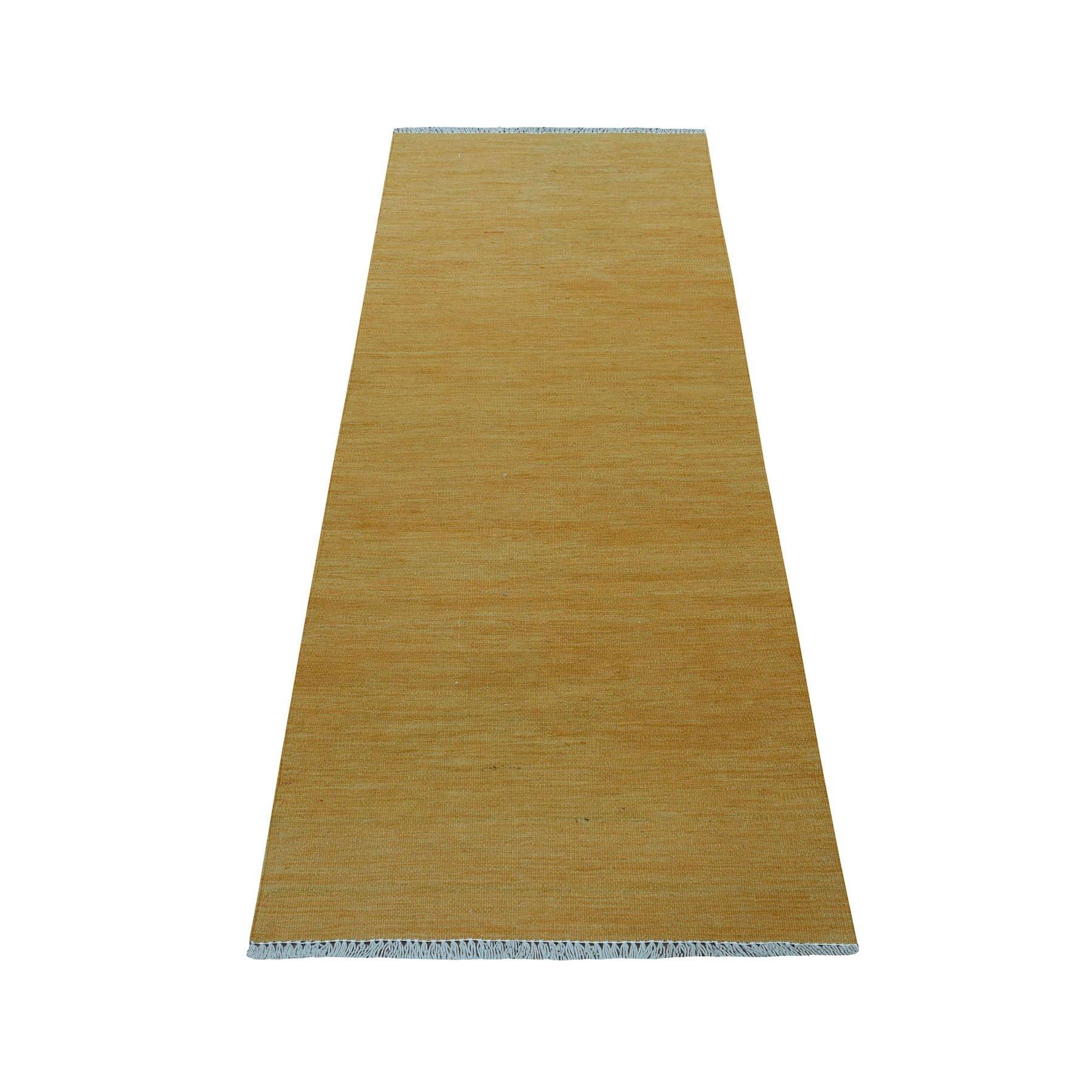 "2'3""X6'4"" Gold Shades Reversible Kilim Pure Wool Hand Woven Runner Oriental Rug moaedbd9"