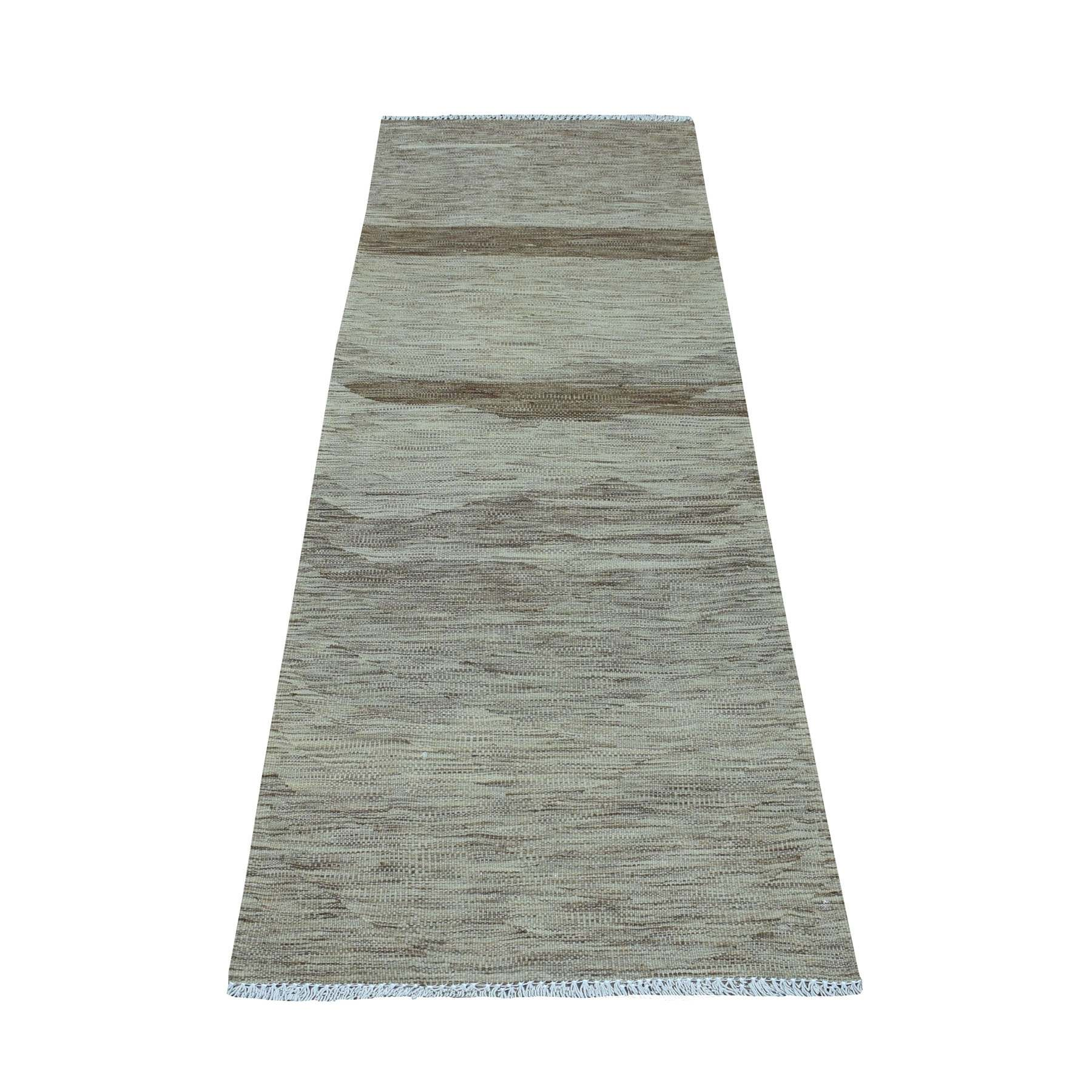 """2'3""""X6'4"""" Natural Shades Reversible Kilim Pure Wool Hand Woven Oriental Runner Rug moaedbea"""