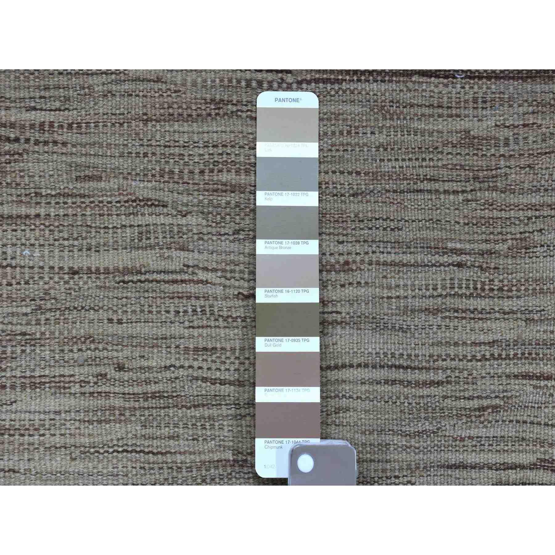 "2'3""x6'4"" Natural Shades Reversible Kilim Pure Wool Hand Woven Oriental Runner Rug"