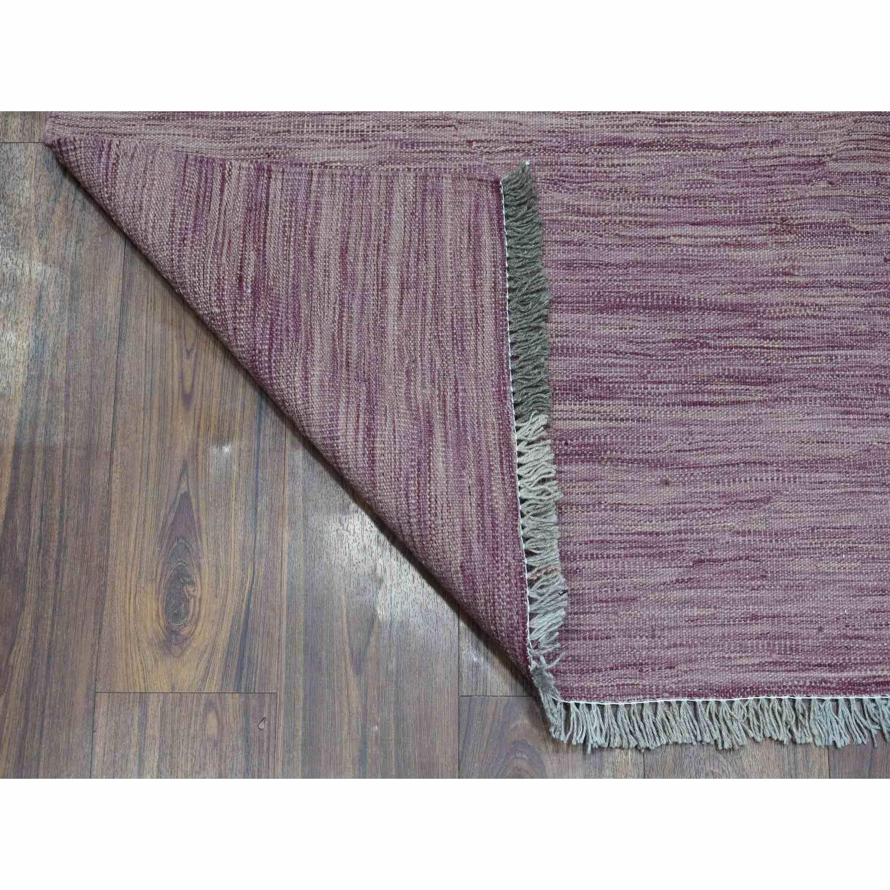 "2'8""x16' Lavender Shades Reversible Kilim Pure Wool Hand Woven XL Runner Oriental Rug"