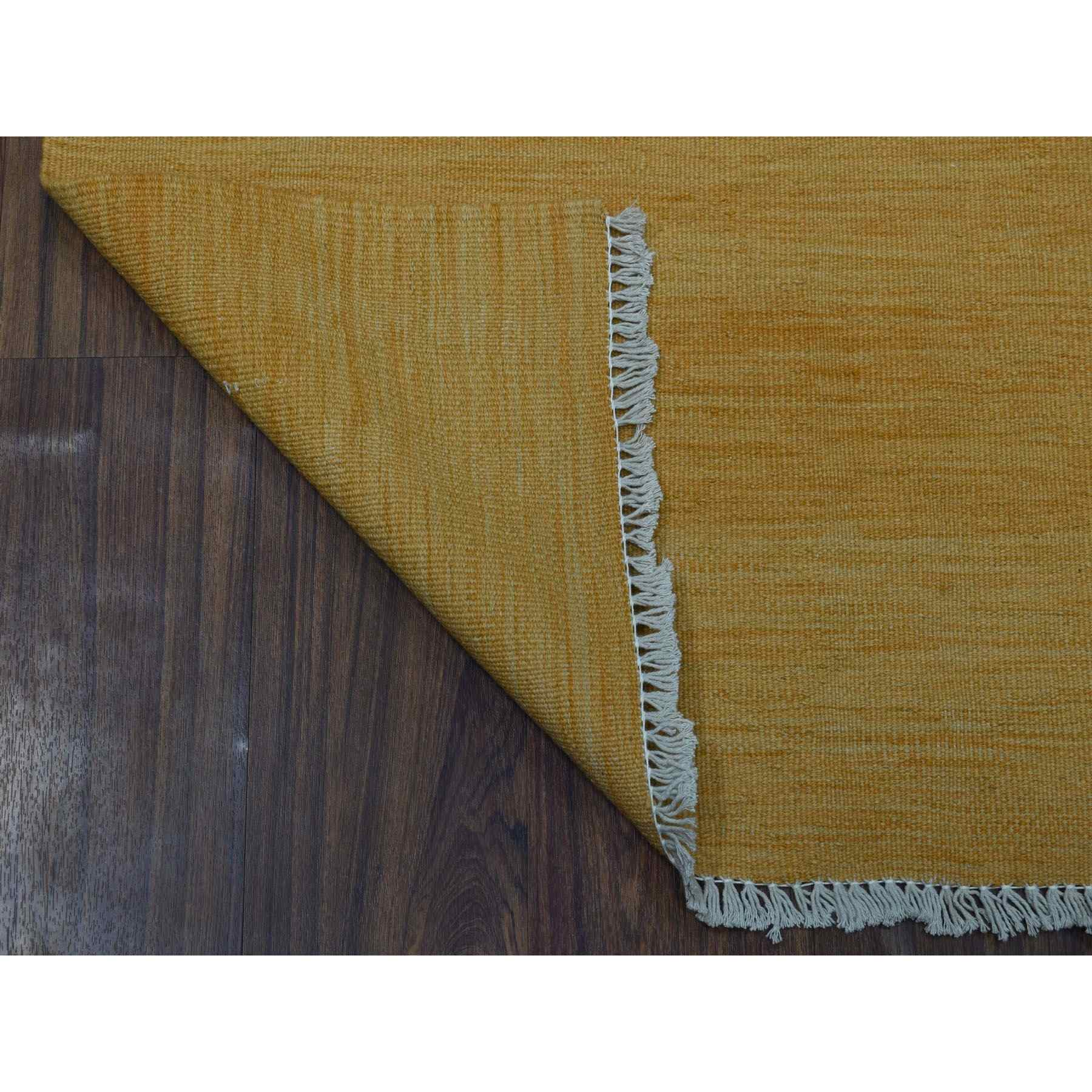 """2'2""""x6'5"""" Gold Shades Reversible Kilim Pure Wool Hand Woven Runner Oriental Rug"""