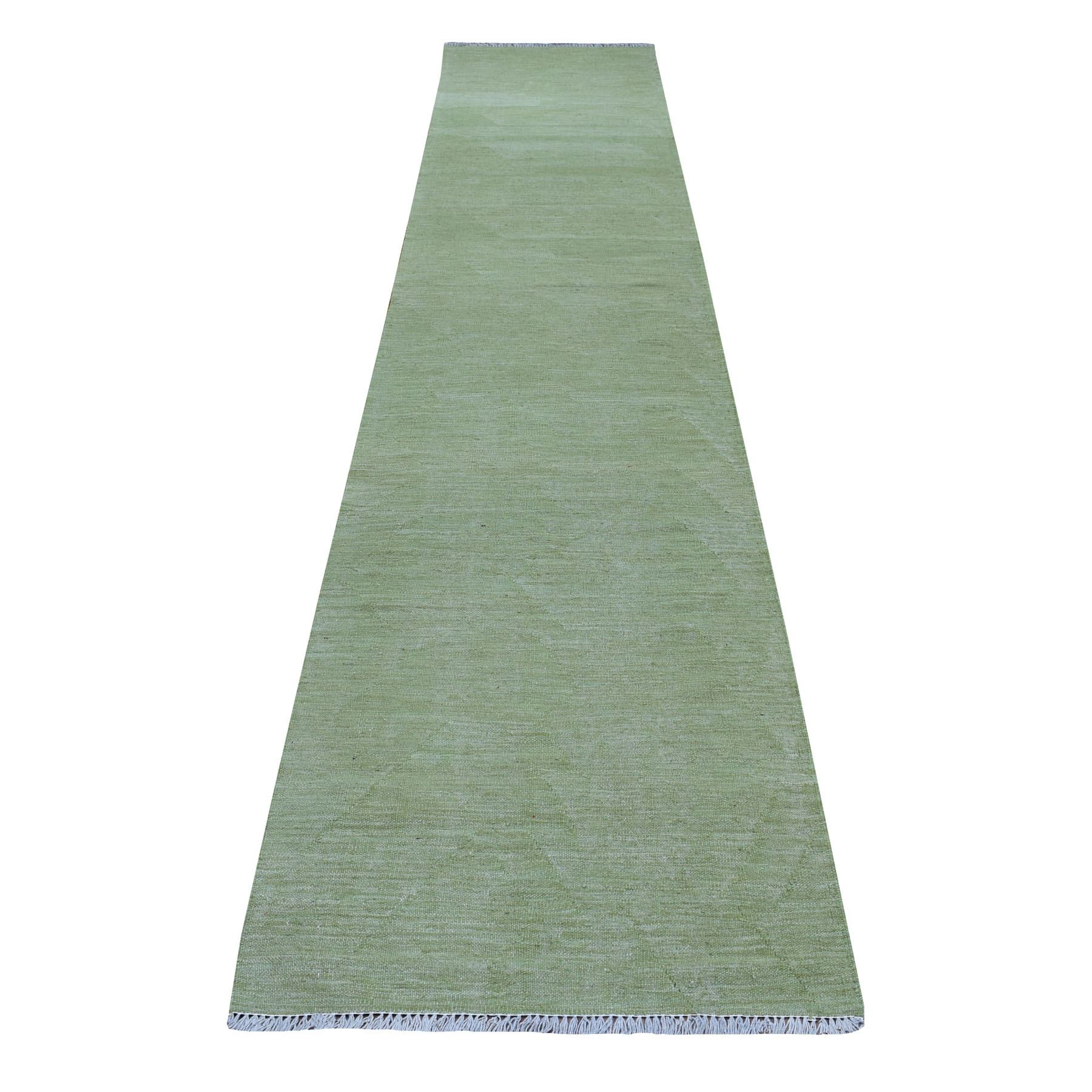 """2'7""""X13' Soft Green Shades Reversible Kilim Pure Wool Hand Woven Runner Oriental Rug moaedbee"""