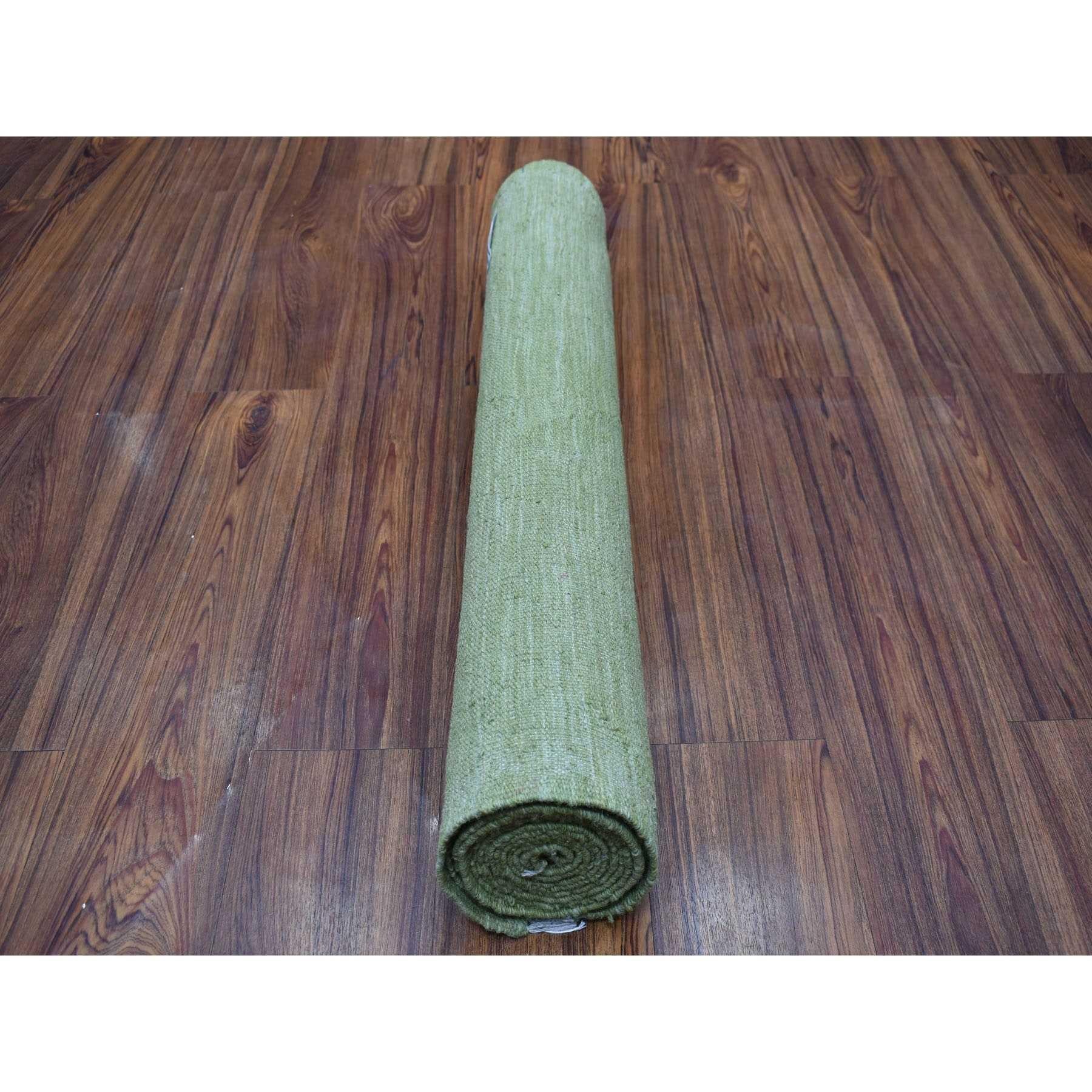 "2'7""x13' Soft Green Shades Reversible Kilim Pure Wool Hand Woven Runner Oriental Rug"
