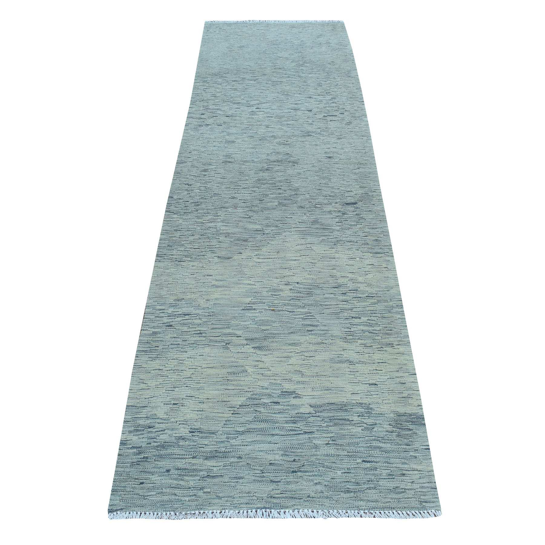 """2'9""""X9'7"""" Gray Shades Reversible Kilim Pure Wool Hand Woven Oriental Runner Rug moaedbe7"""