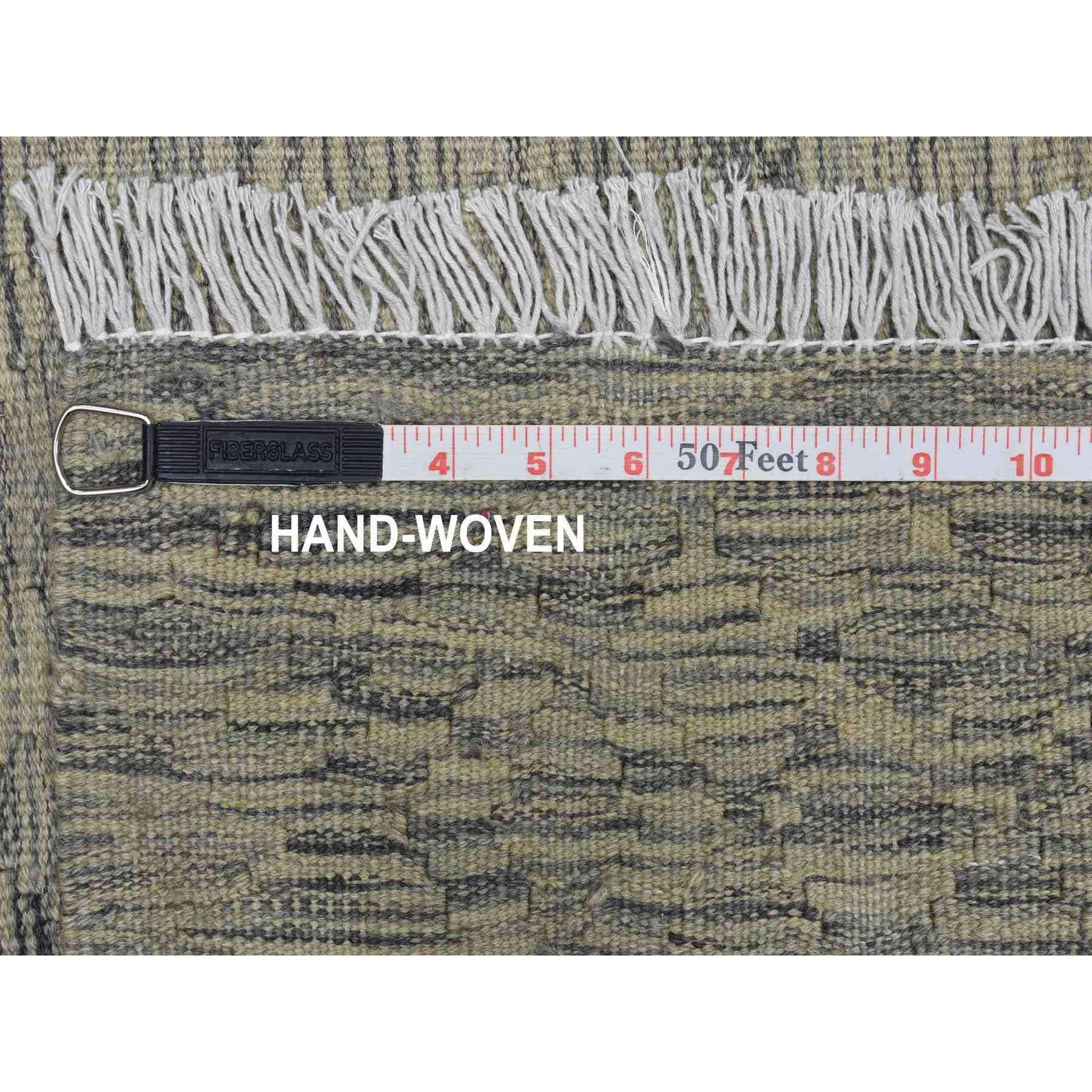"2'9""x9'7"" Gray Shades Reversible Kilim Pure Wool Hand Woven Oriental Runner Rug"