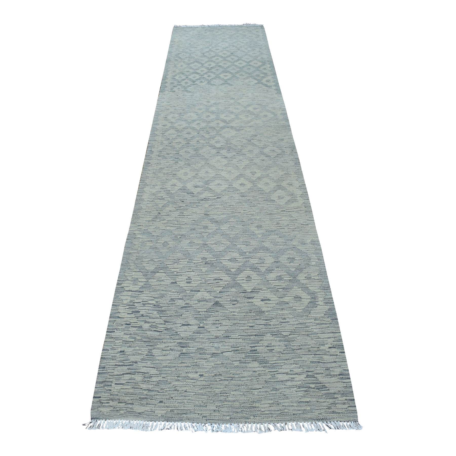 "2'9""x12'8"" Undyed Natural Wool Afghan Kilim Reversible Hand Woven Runner Oriental Rug 54261"