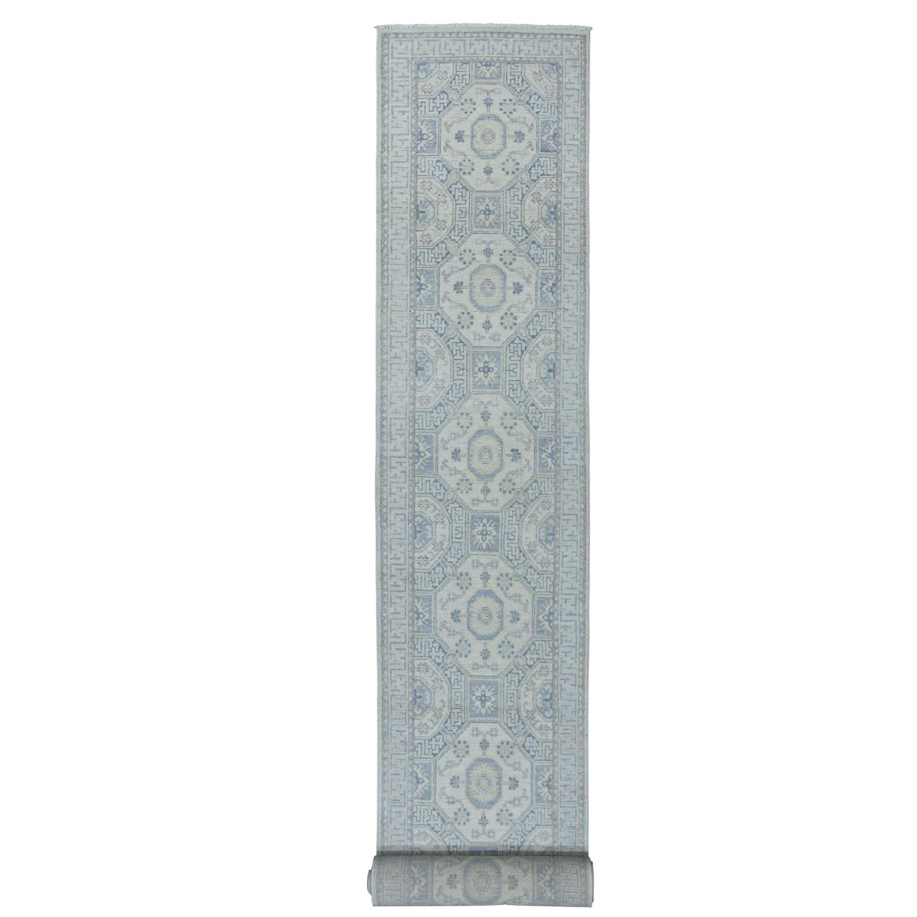 "2'7""X26'5"" White Wash Peshawar Khotan Design Pure Wool Hand Knotted Xl Runner Orientals Rug moaedb6b"