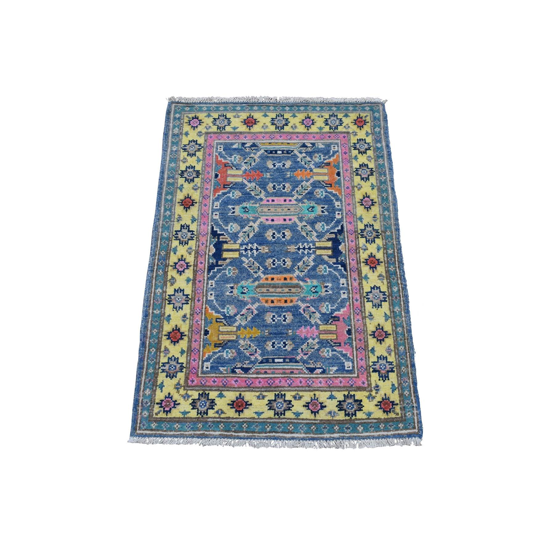2'X3' Colorful Blue Fusion Kazak Pure Wool Geometric Design Hand Knotted Oriental Rug moaedb6c