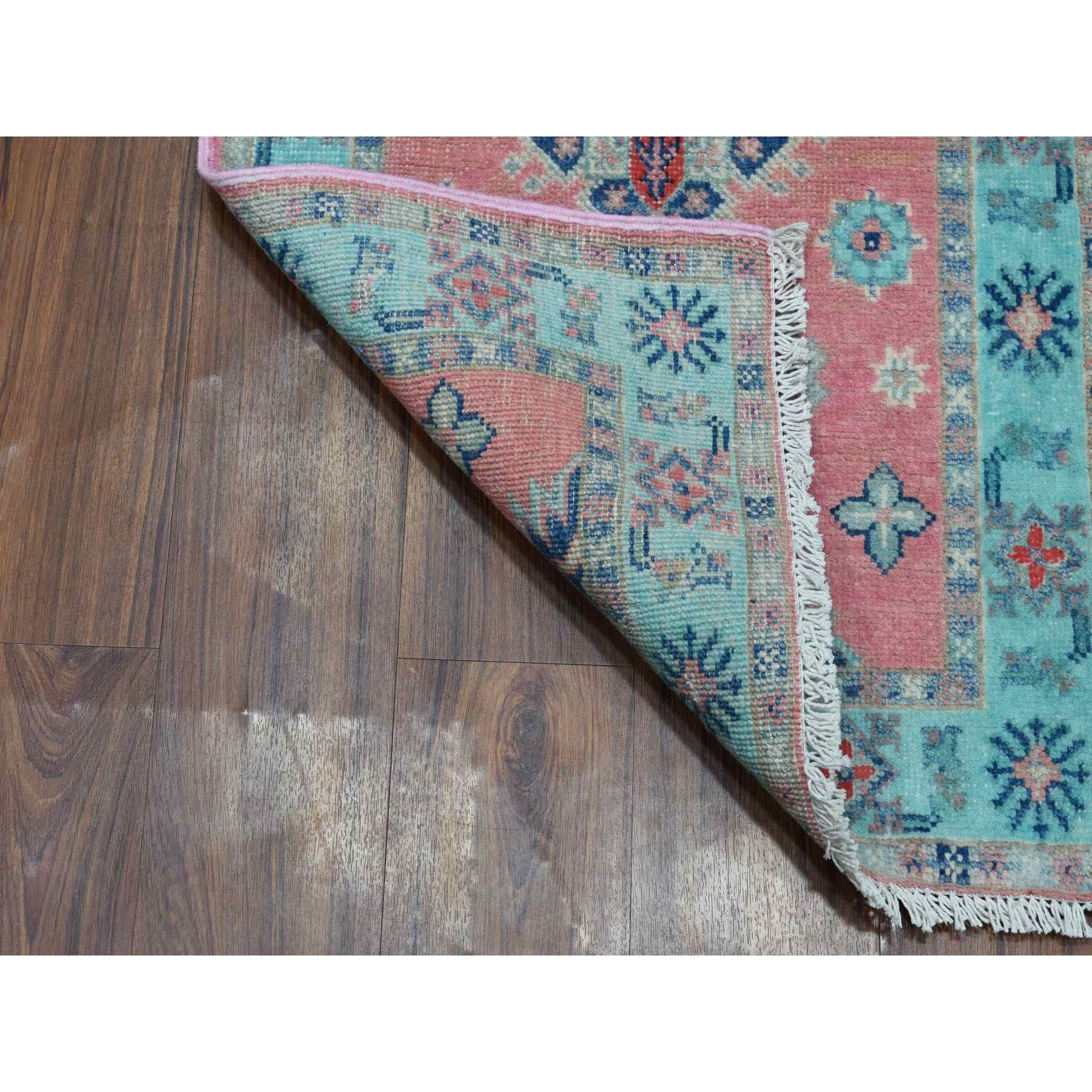 """2'1""""x3' Colorful Pink Fusion Kazak Pure Wool Geometric Design Hand Knotted Oriental Rug"""