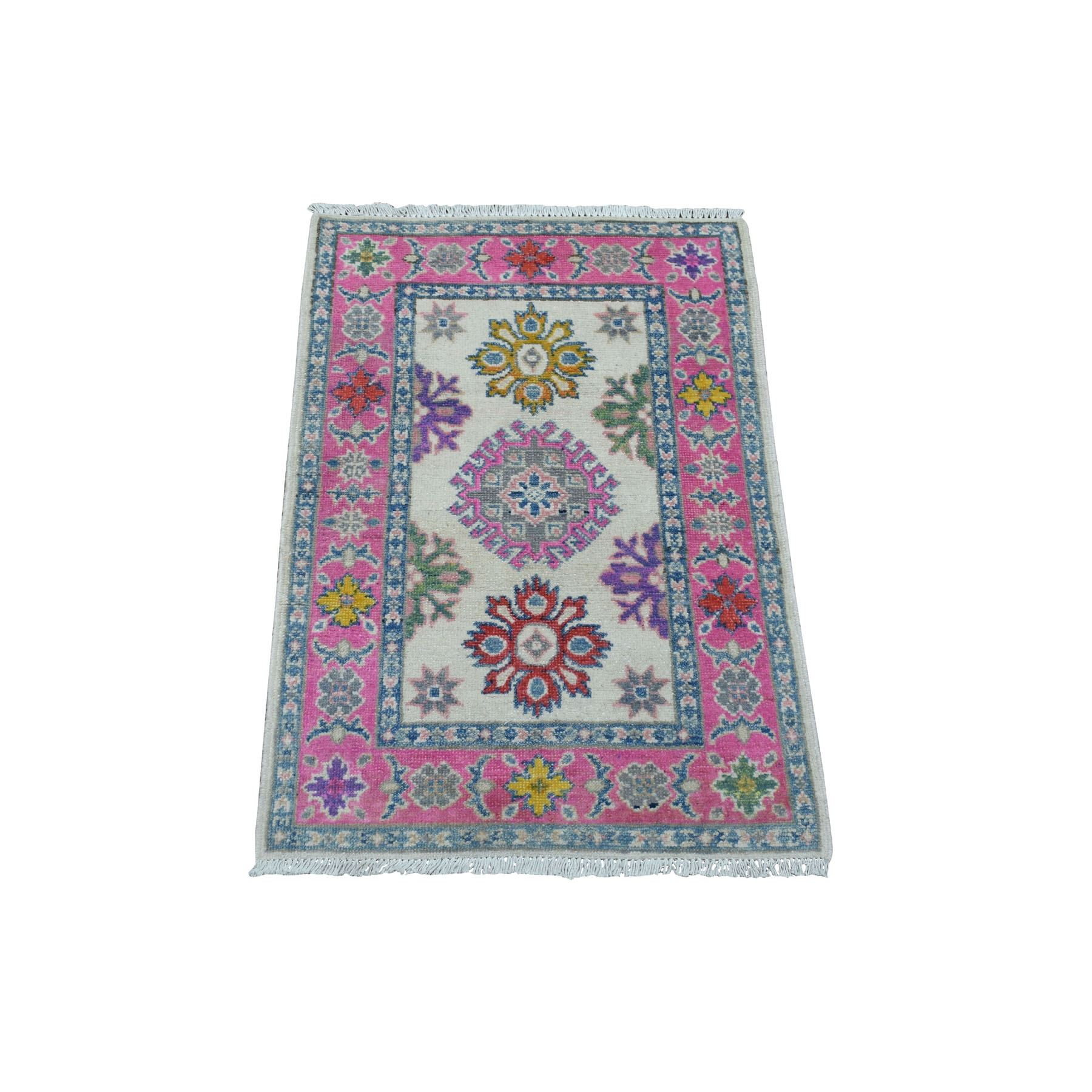 """2'x2'10"""" Colorful Ivory Fusion Kazak Pure Wool Hand Knotted Oriental Rug"""