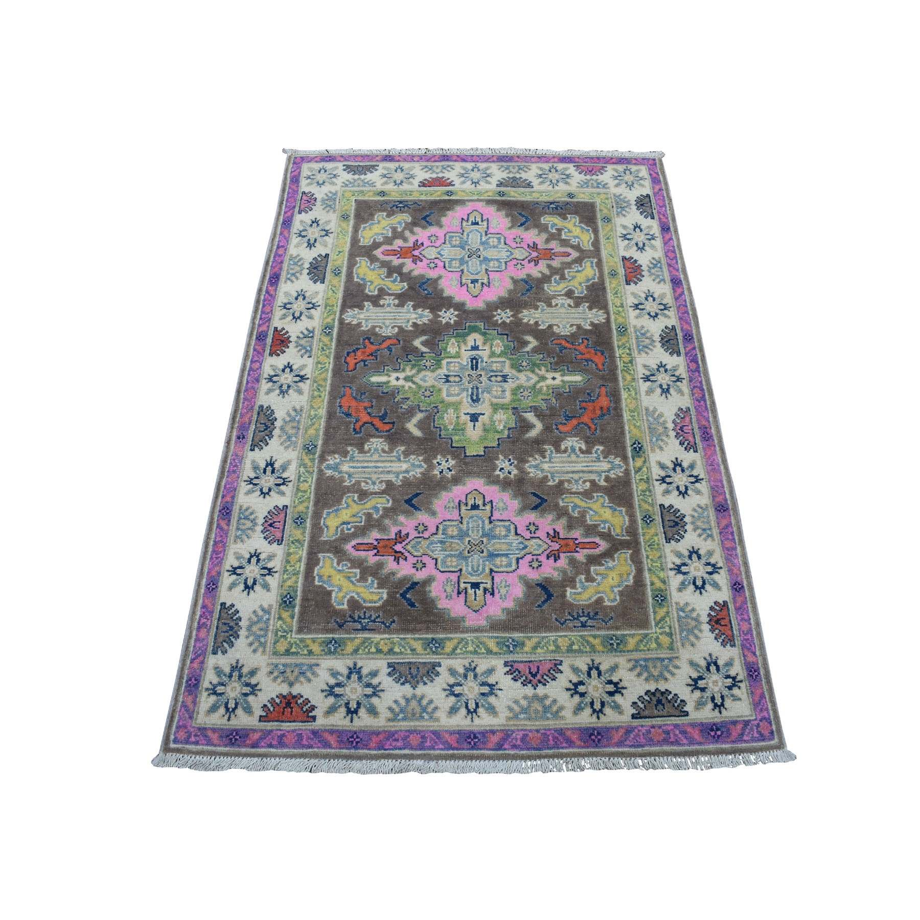 """3'3""""X5' Colorful Gray Fusion Kazak Pure Wool Hand Knotted Oriental Rug moaedb66"""